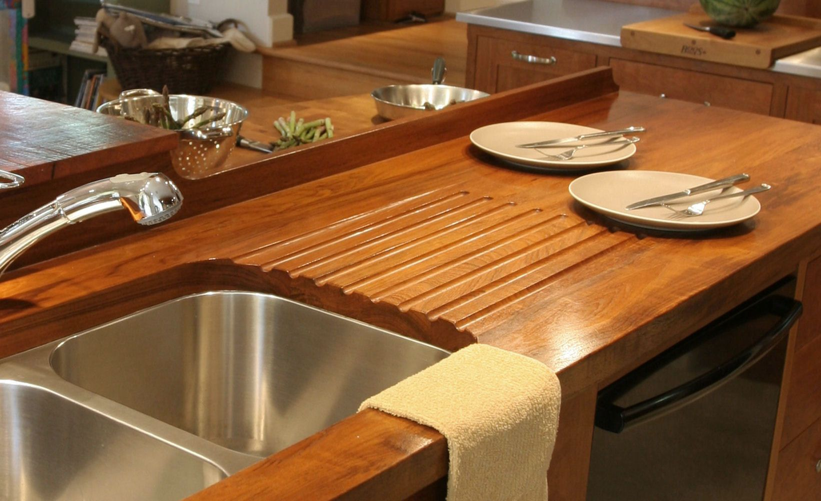 Countertop Finish Options : Teak face grain countertop including an integrated sloping drainboard ...