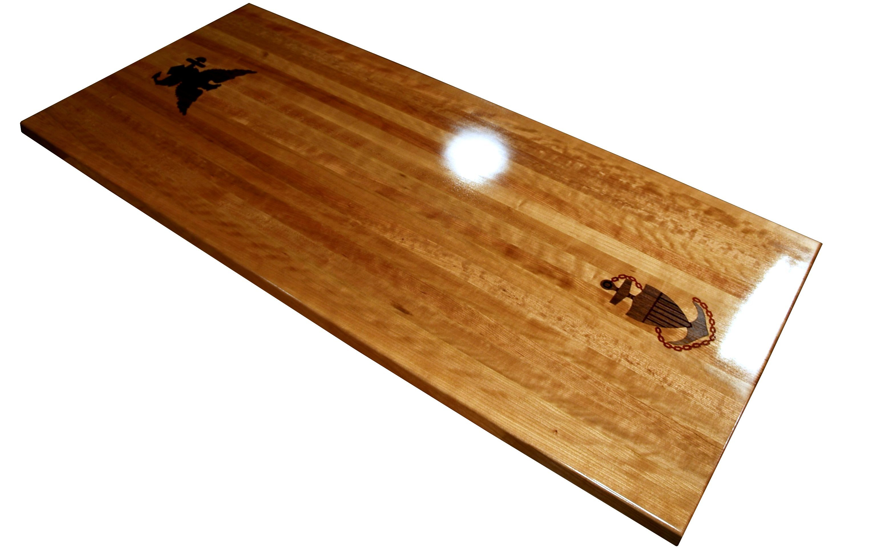 Exceptional Custom Walnut Inlay With Dyed Resin Set Into An Edge Grain Cherry Table Top.