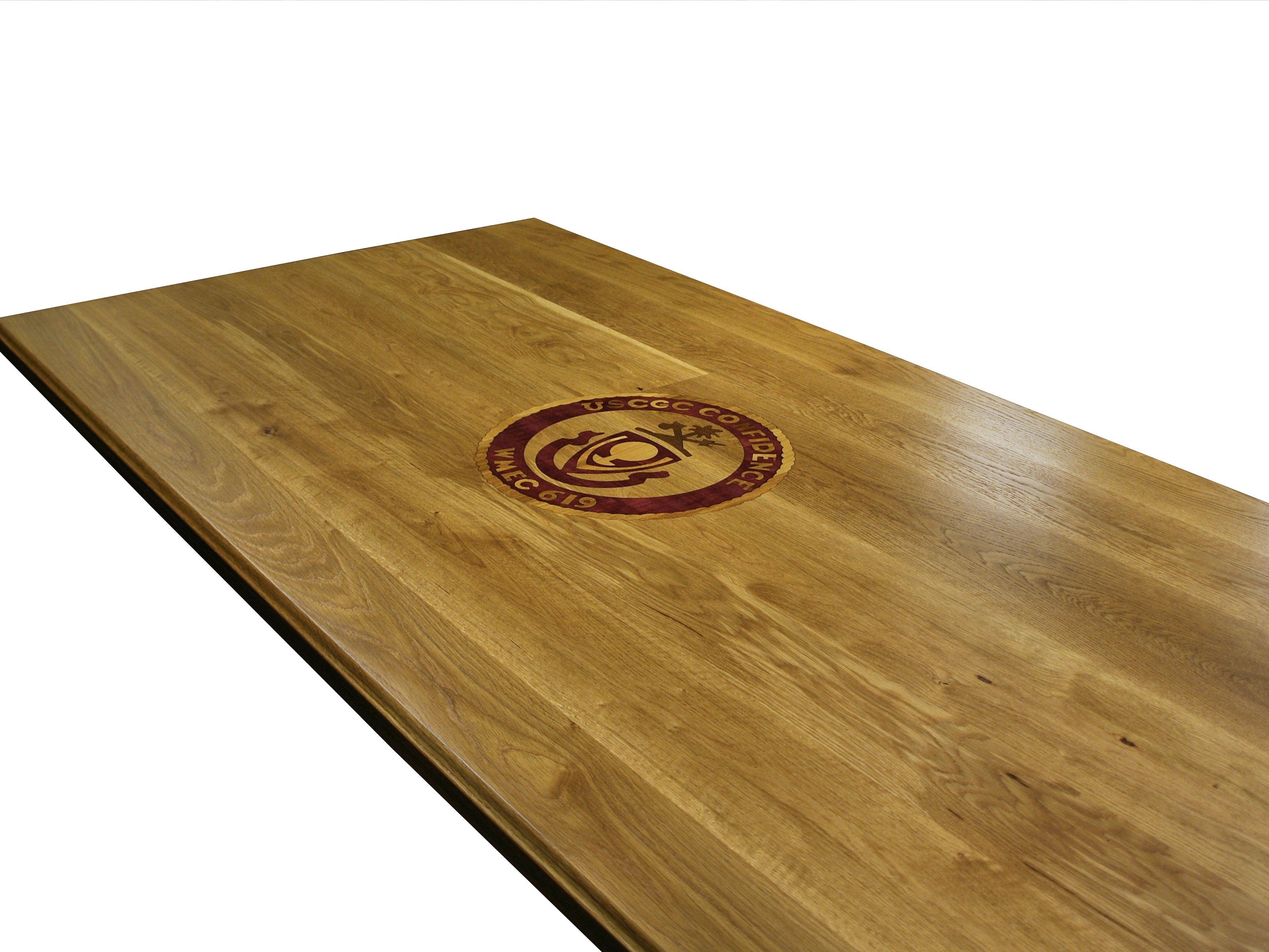 Custom Purpleheart  Walnut and White Oak inlay set into a Face Grain White Oak  table. Custom Wood Countertop Options   Inlays and Fills