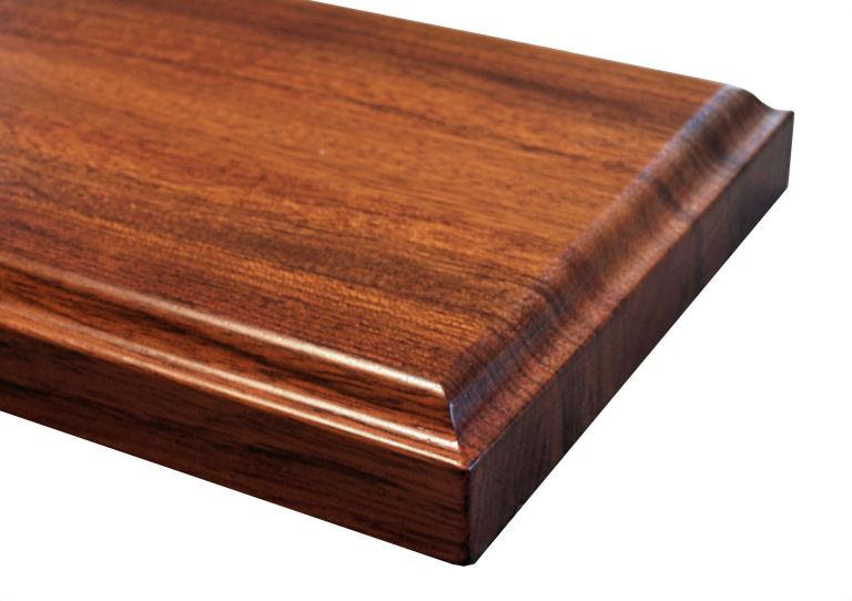 Wave Edge Profile for wood countertops shown on edge grain Jatoba