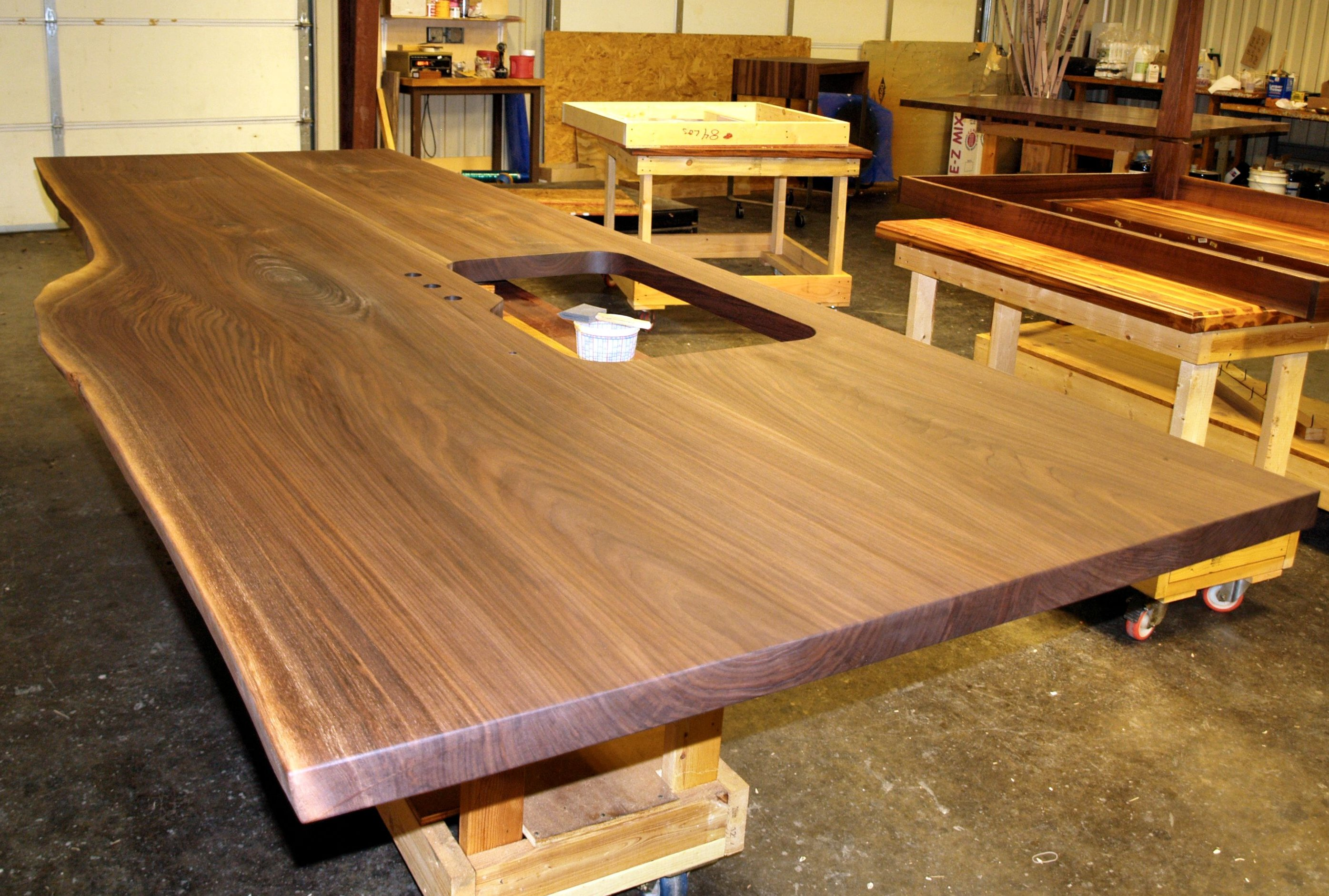 Slabs before and after photos for Island woodworking