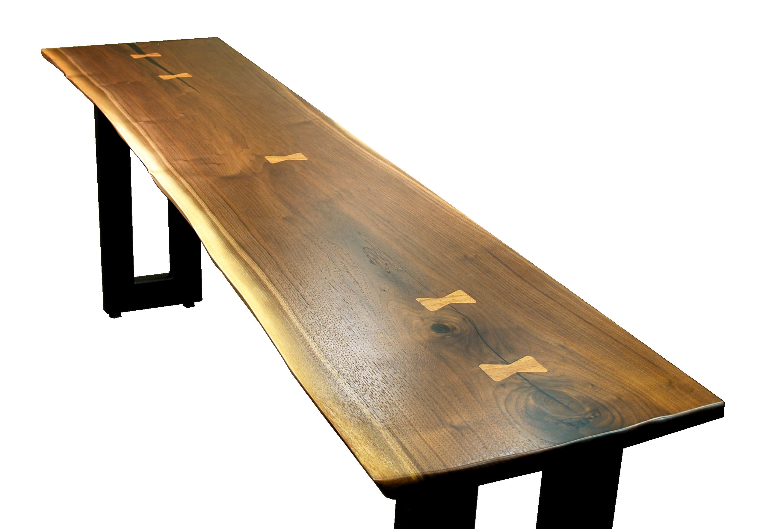 Custom Walnut Slab Table Top With Maple Erfly Inlays Natural Edges And Waterlox Satin Finish