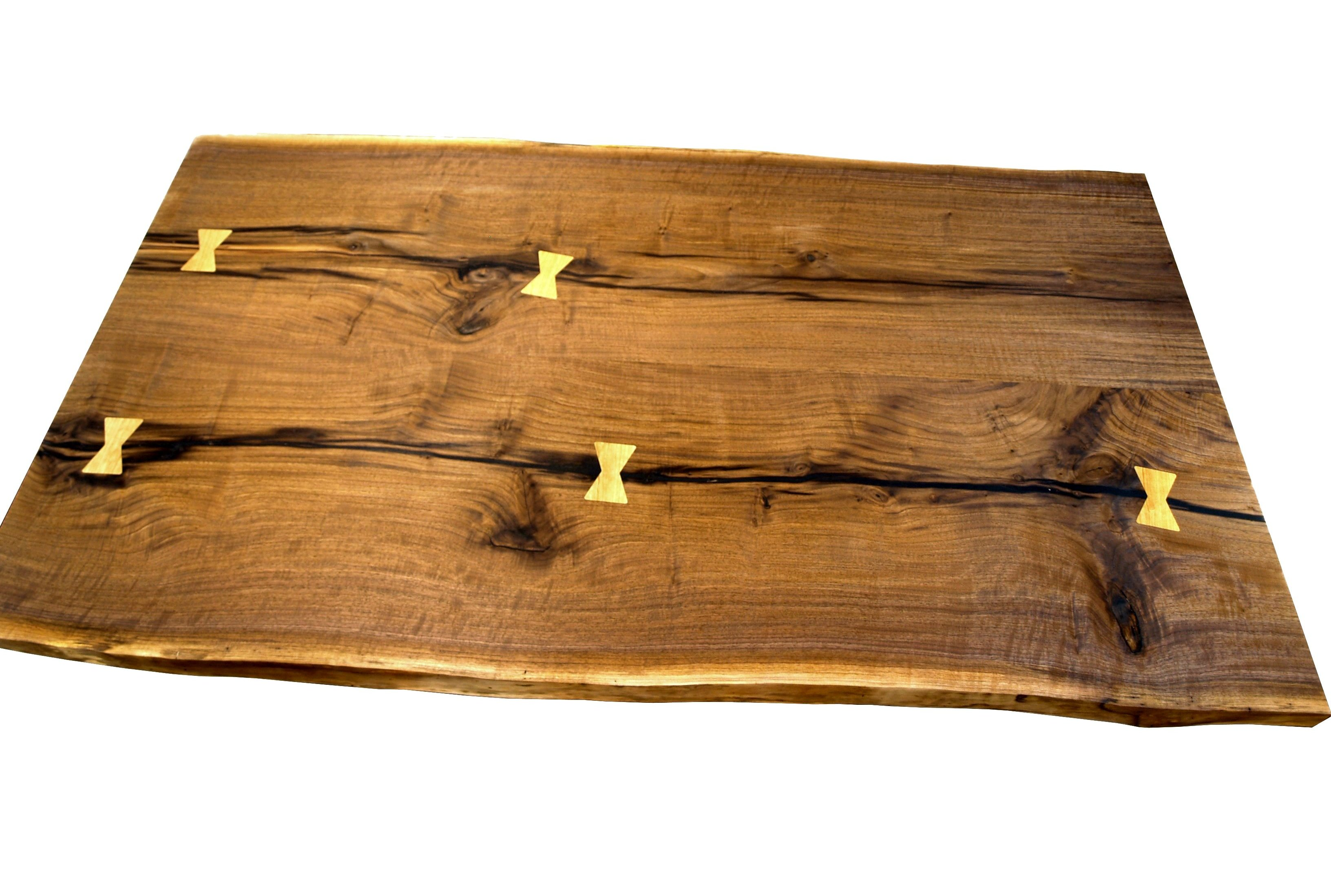 Custom Walnut Slab Table Top With Maple Butterfly Inlays. Constructed From  One Long Slab Cut