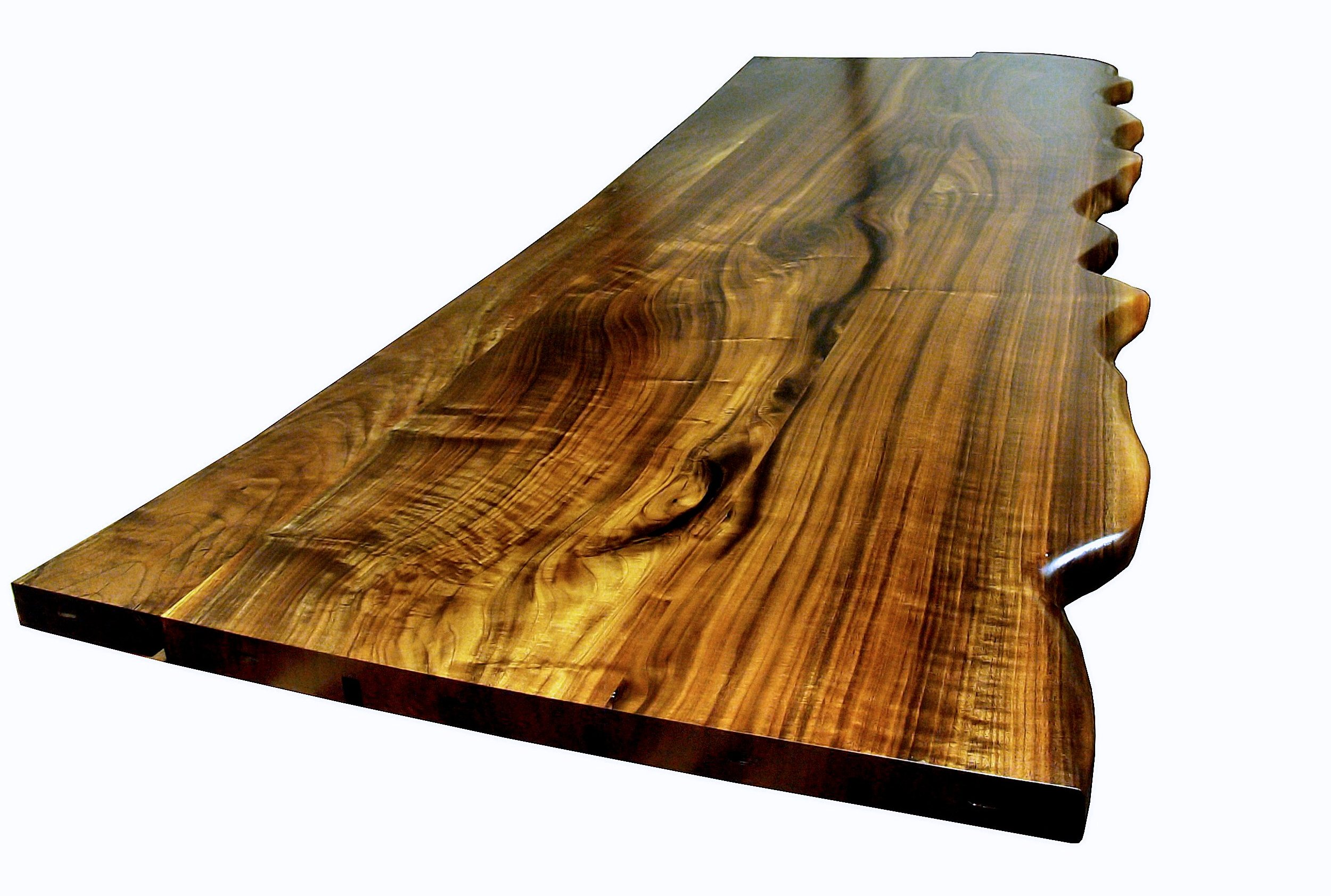 Bon One Section Of A Multi Section Walnut Slab Bar Top. Sculpted Wane Edge And