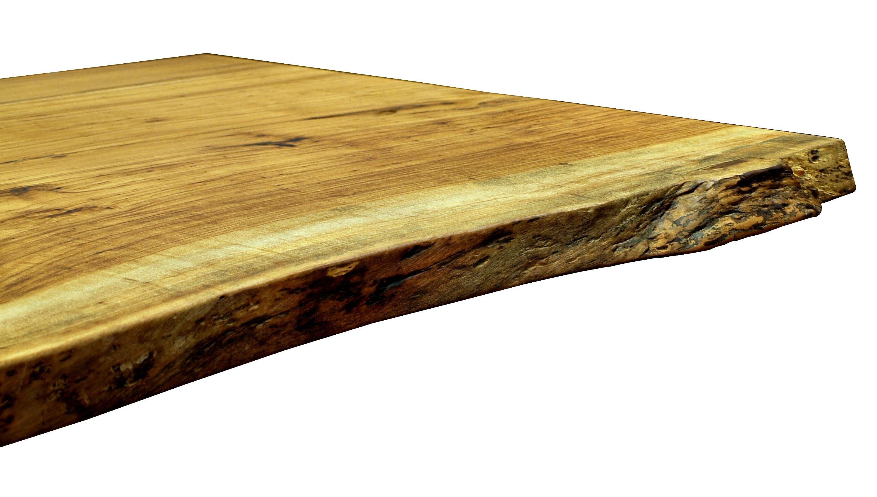 Pecan slab table top with Natural Edges and a Tung Oil Citrus finish. Natural Edges  Wane edges  on Custom Wood Countertops and Table Tops