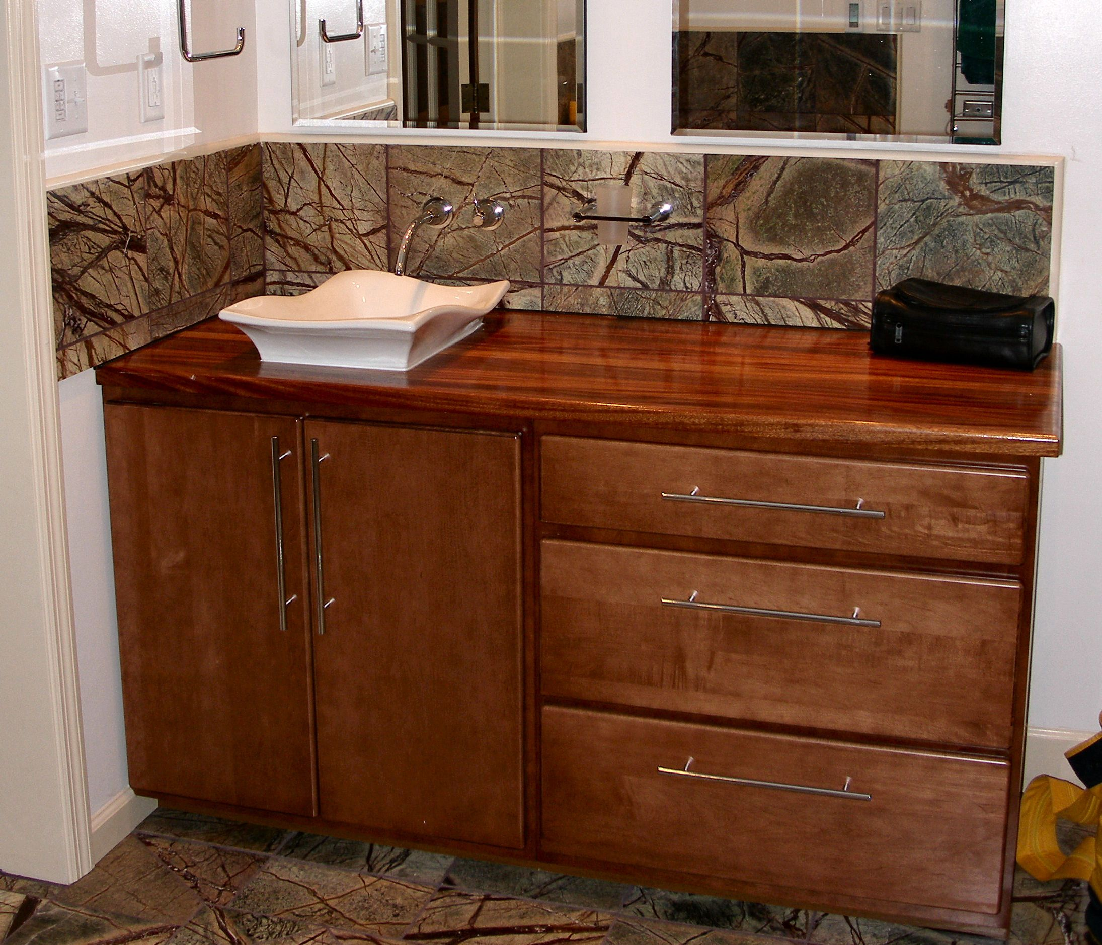 Custom Bathroom Vanity Tops With Sinks sink cutouts in custom wood countertops