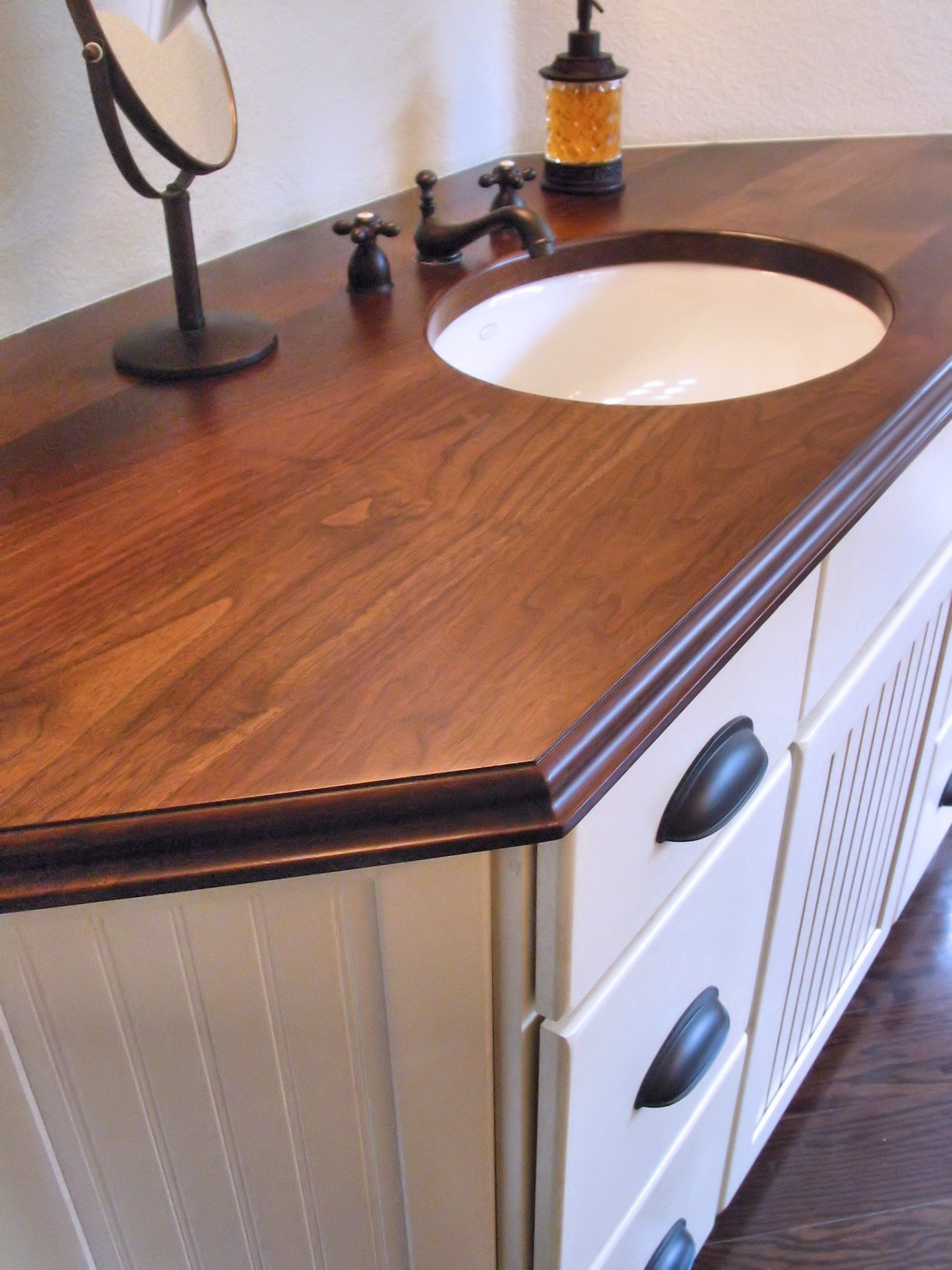 Vanity Wood Top : Walnut face grain wood vanity countertop