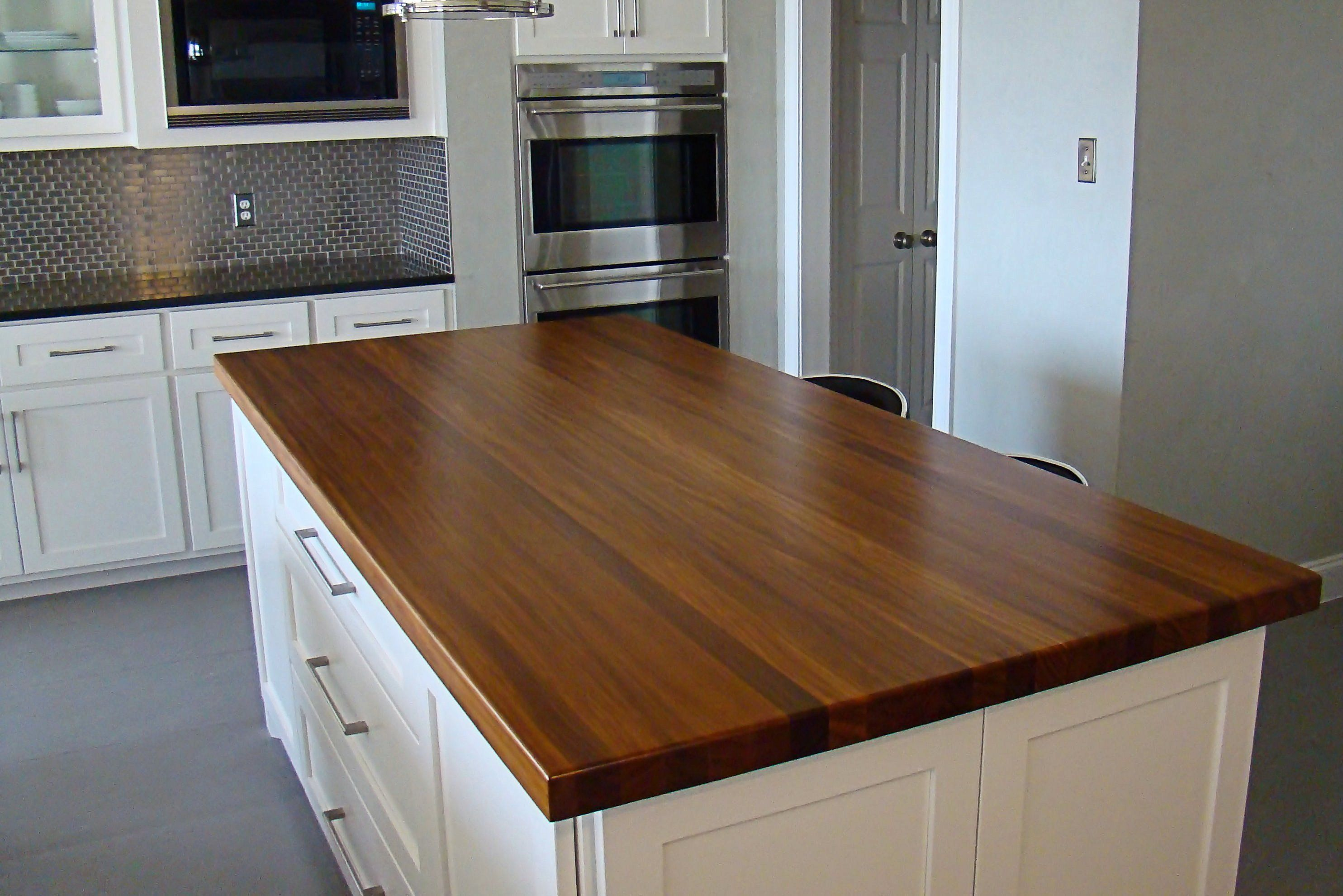 Afromosia edge grain custom wood island countertop