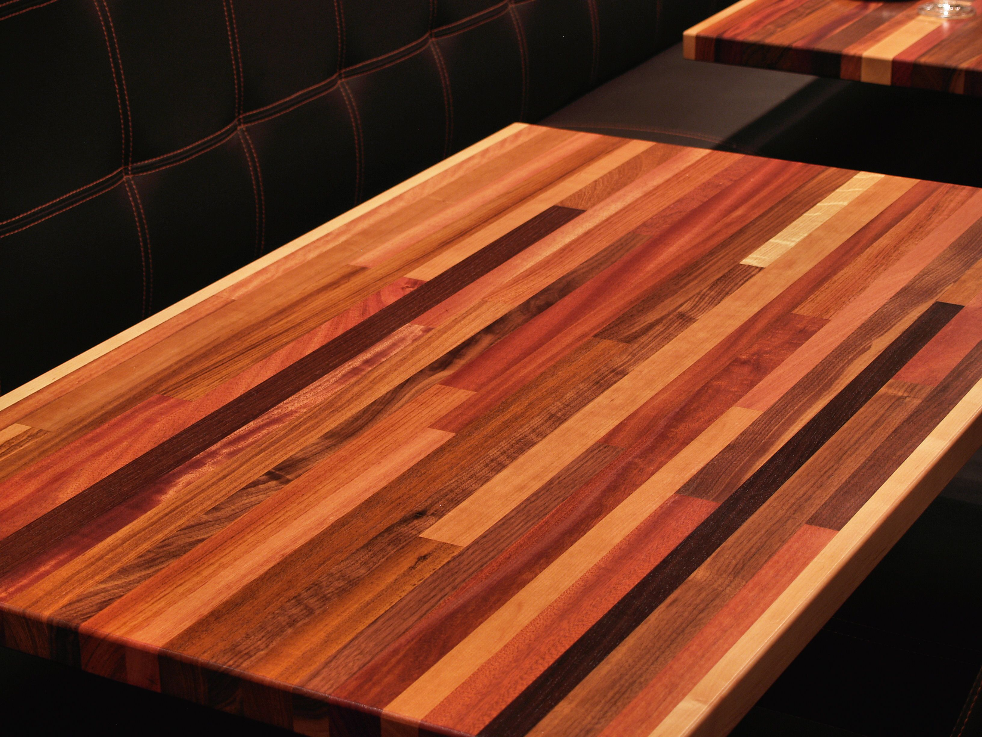 Brick A Brack edge grain custom wood table top. Brick A Brack Wood Countertop Photo Gallery  by DeVos Custom