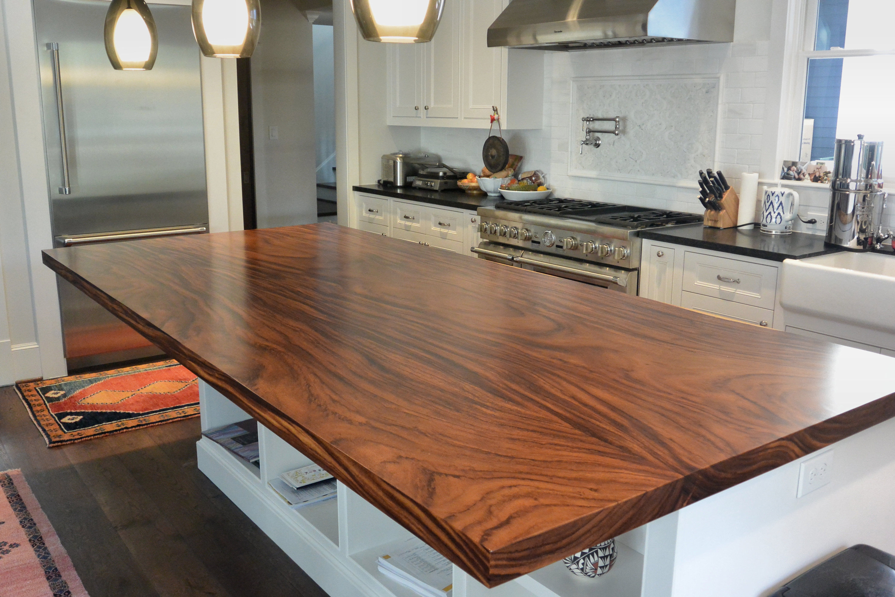 Guanacaste Parota Live Edge Wood Slab Countertop Photo