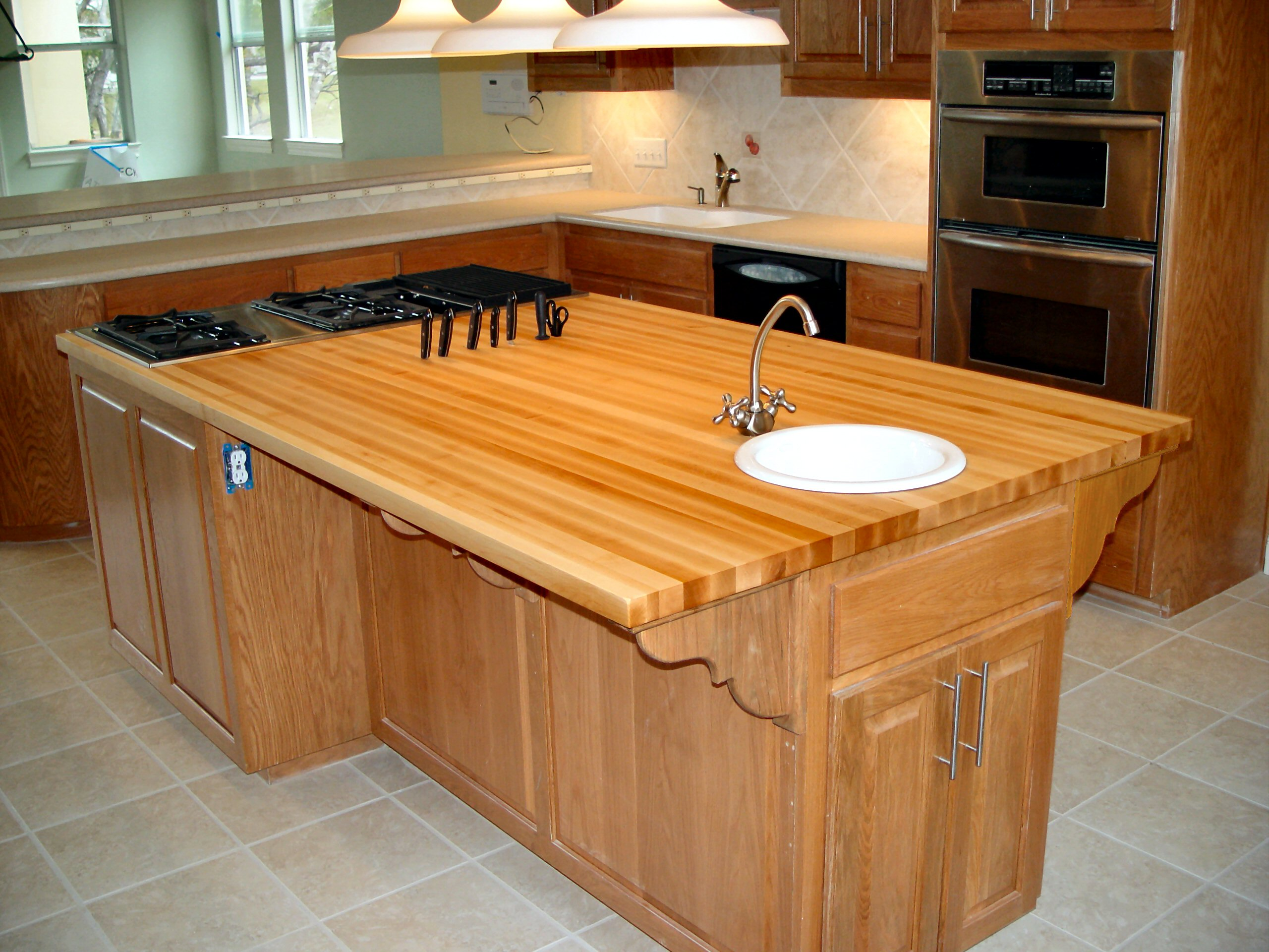Custom wood countertop options knife storage for Maple slab countertop