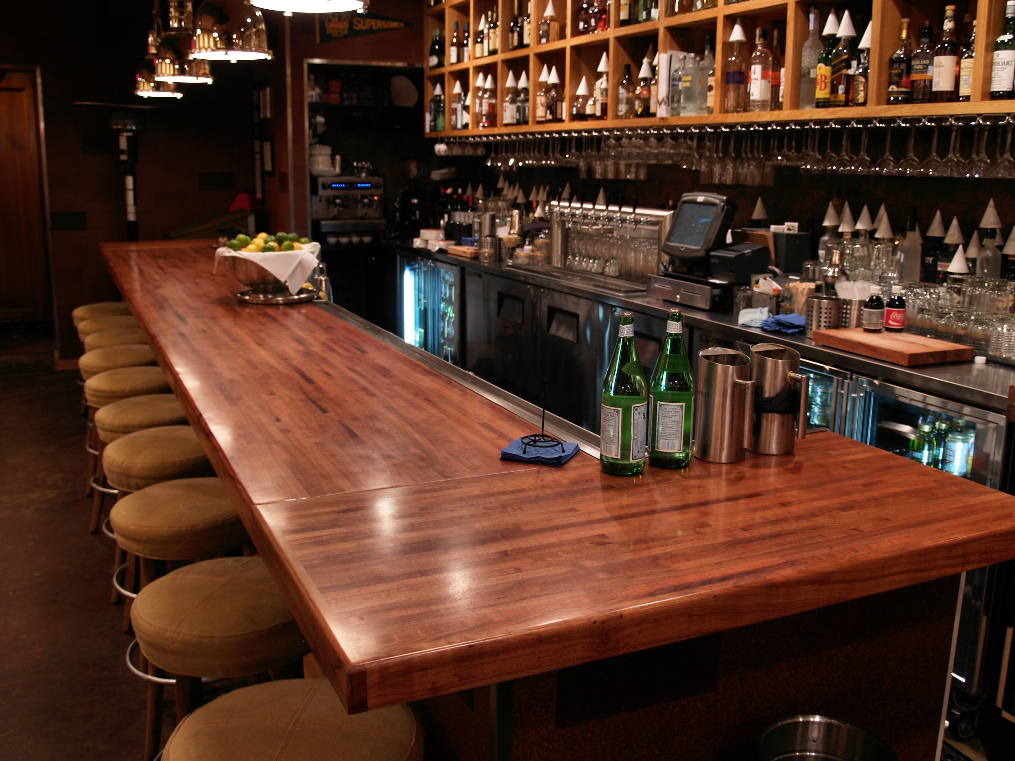 Mesquite wood countertop photo gallery by devos custom for Bar style countertop