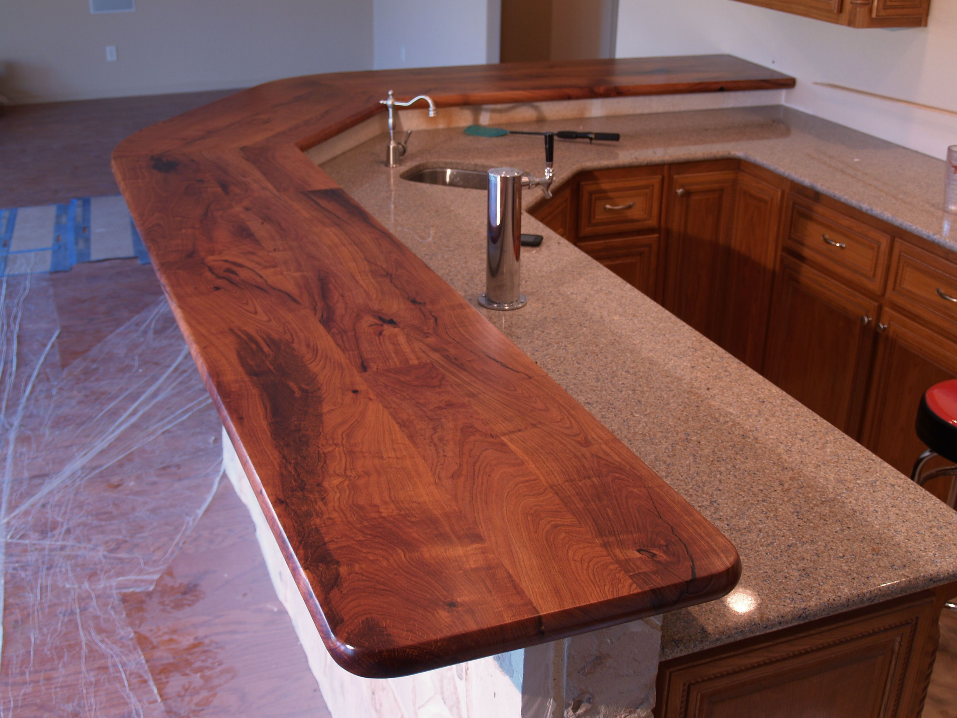 Mesquite wood countertop photo gallery by devos custom for What to use for a bar top