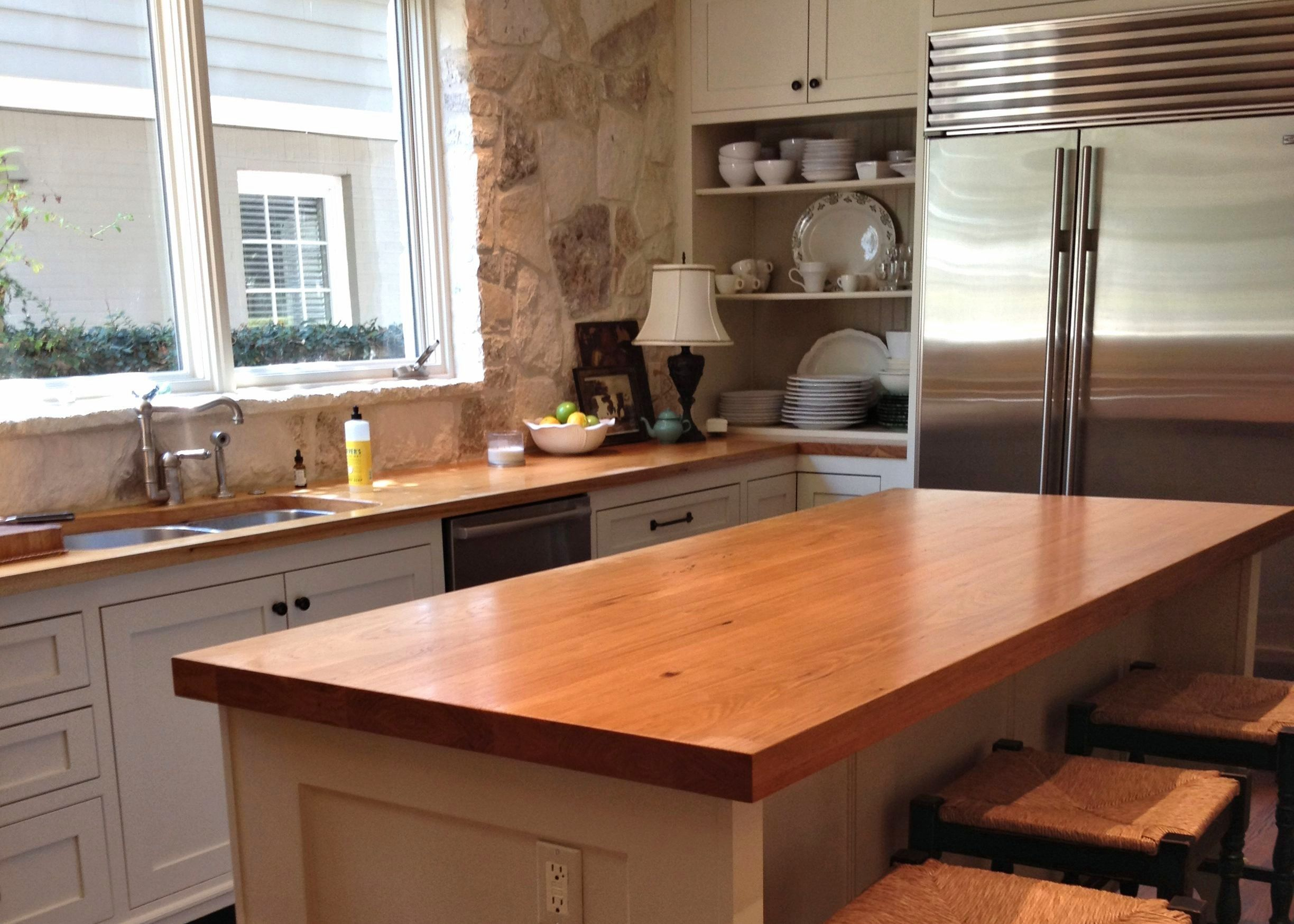 Pecan Wood Countertop Photo Gallery By DeVos Custom Woodworking - Grey cabinets wood countertops
