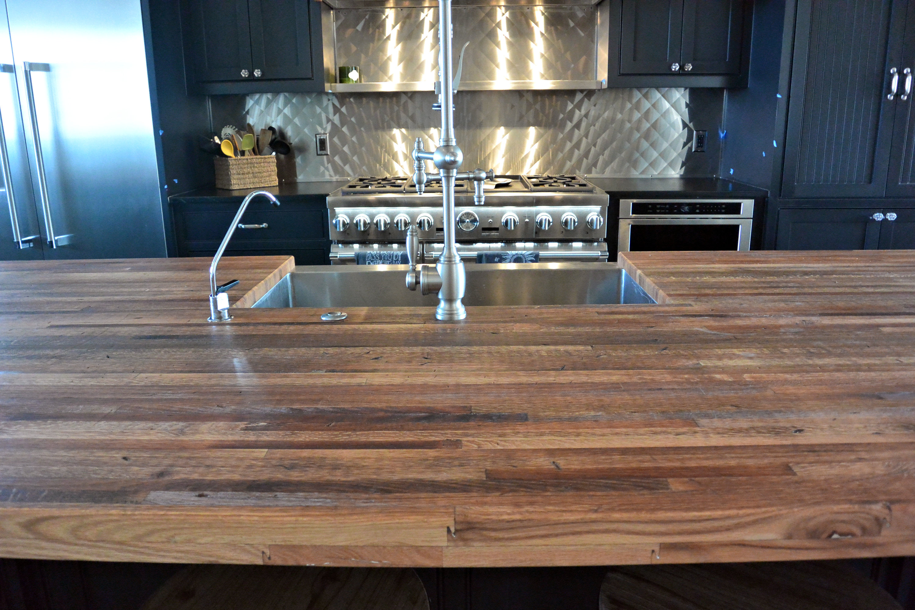 Reclaimed Boxcar Flooring Edge Grain Wood Island Countertop With Tung Oil  Finish.