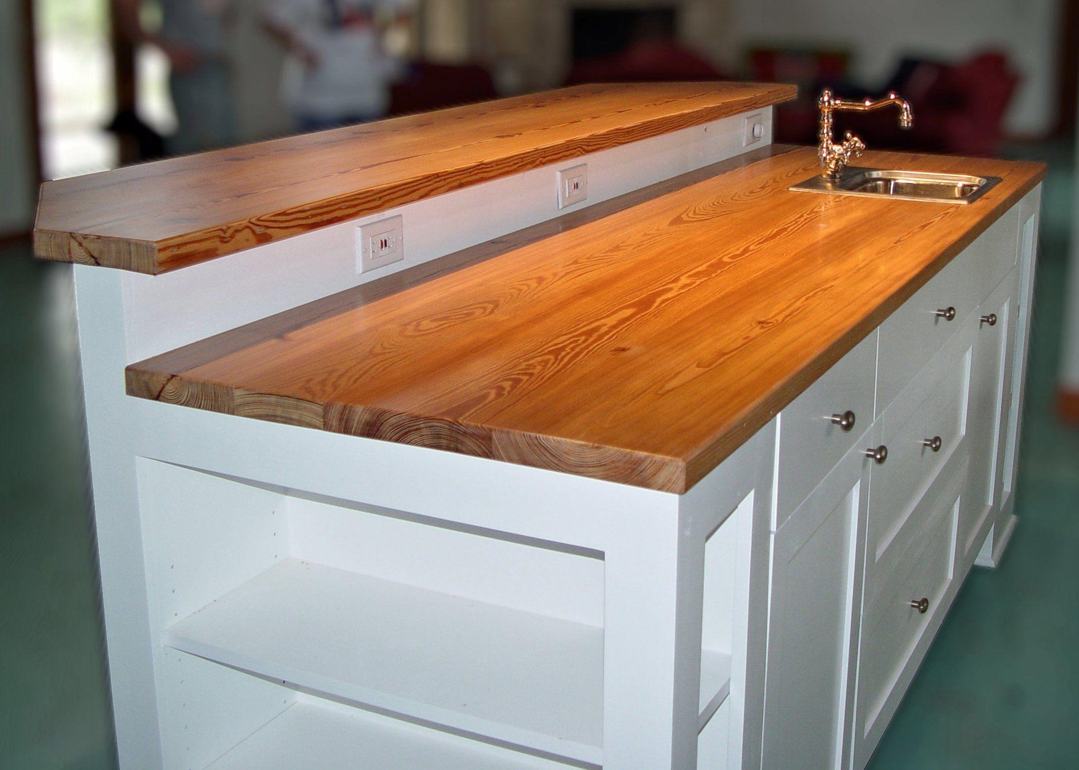 Reclaimed Longleaf Pine Face Grain Custom Wood Counter Top And Bar Top.