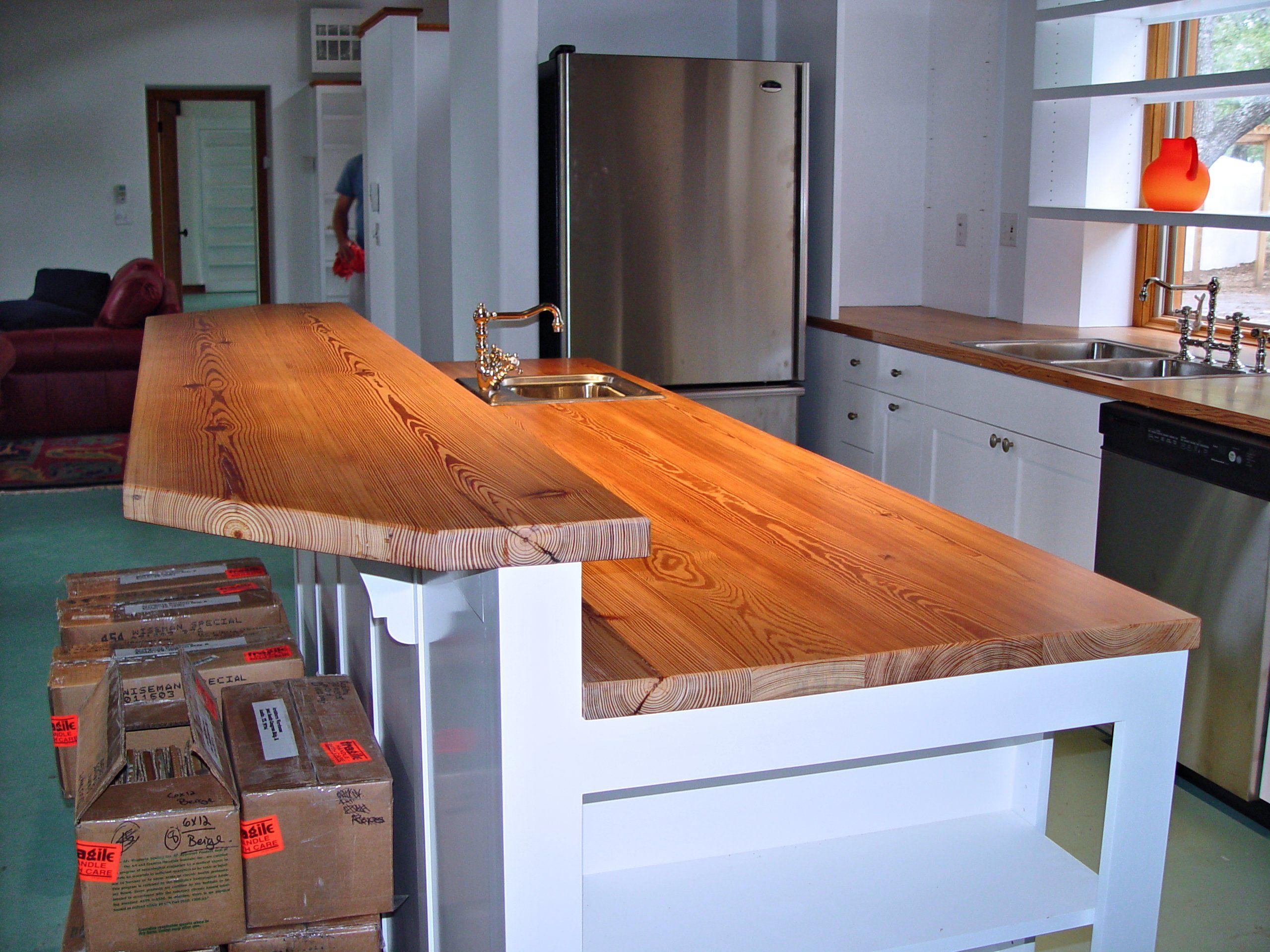 Reclaimed Longleaf Pine Wood Countertop Photo Gallery By