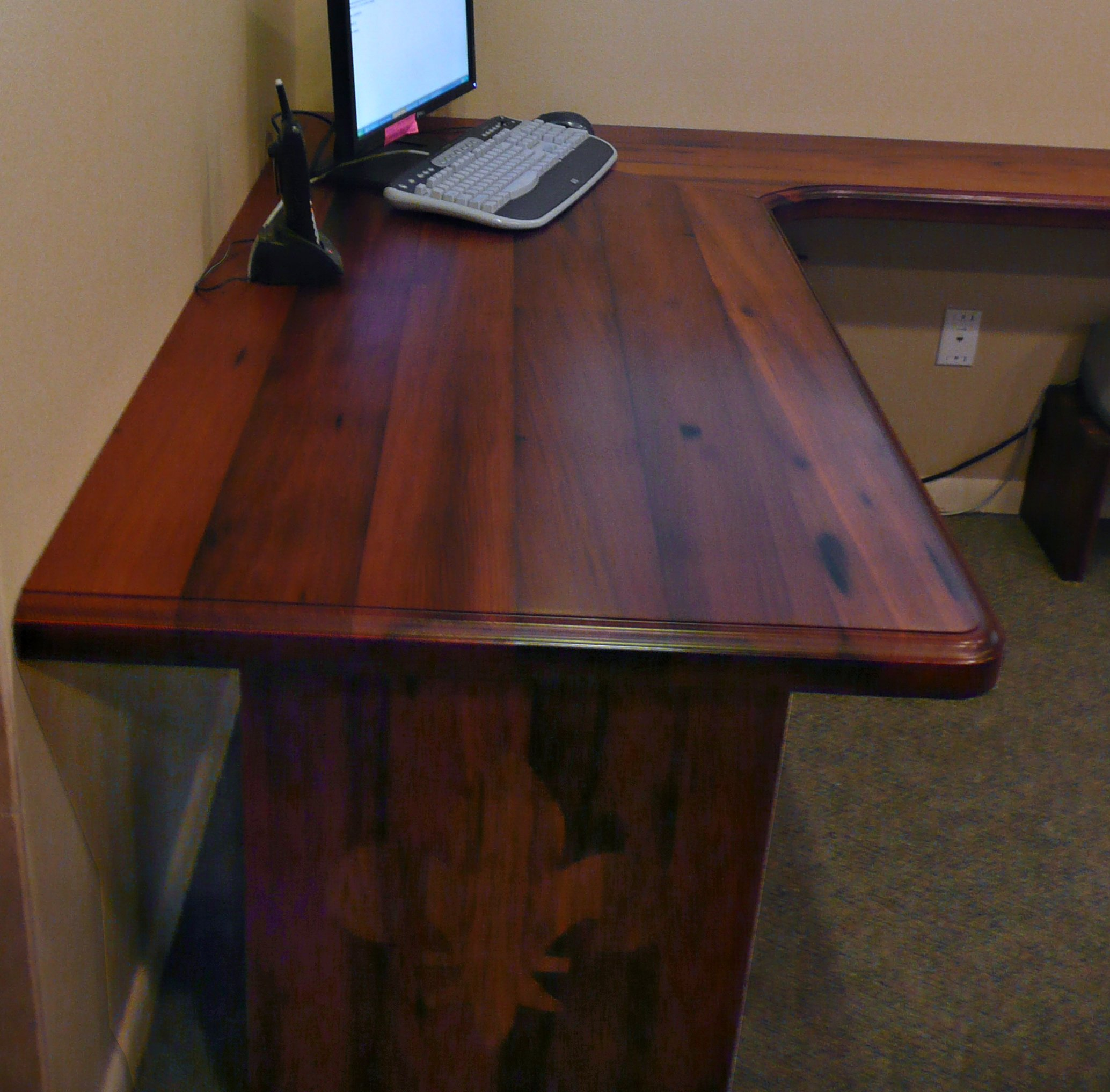 Reclaimed Redwood Face Grain Custom Wood Desk Top.