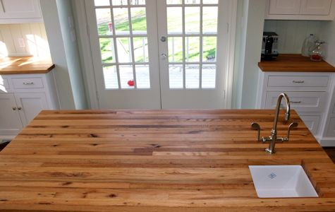 Santos Mahogany Wood Island Countertop Reclaimed White Oak Wood Island  Countertop