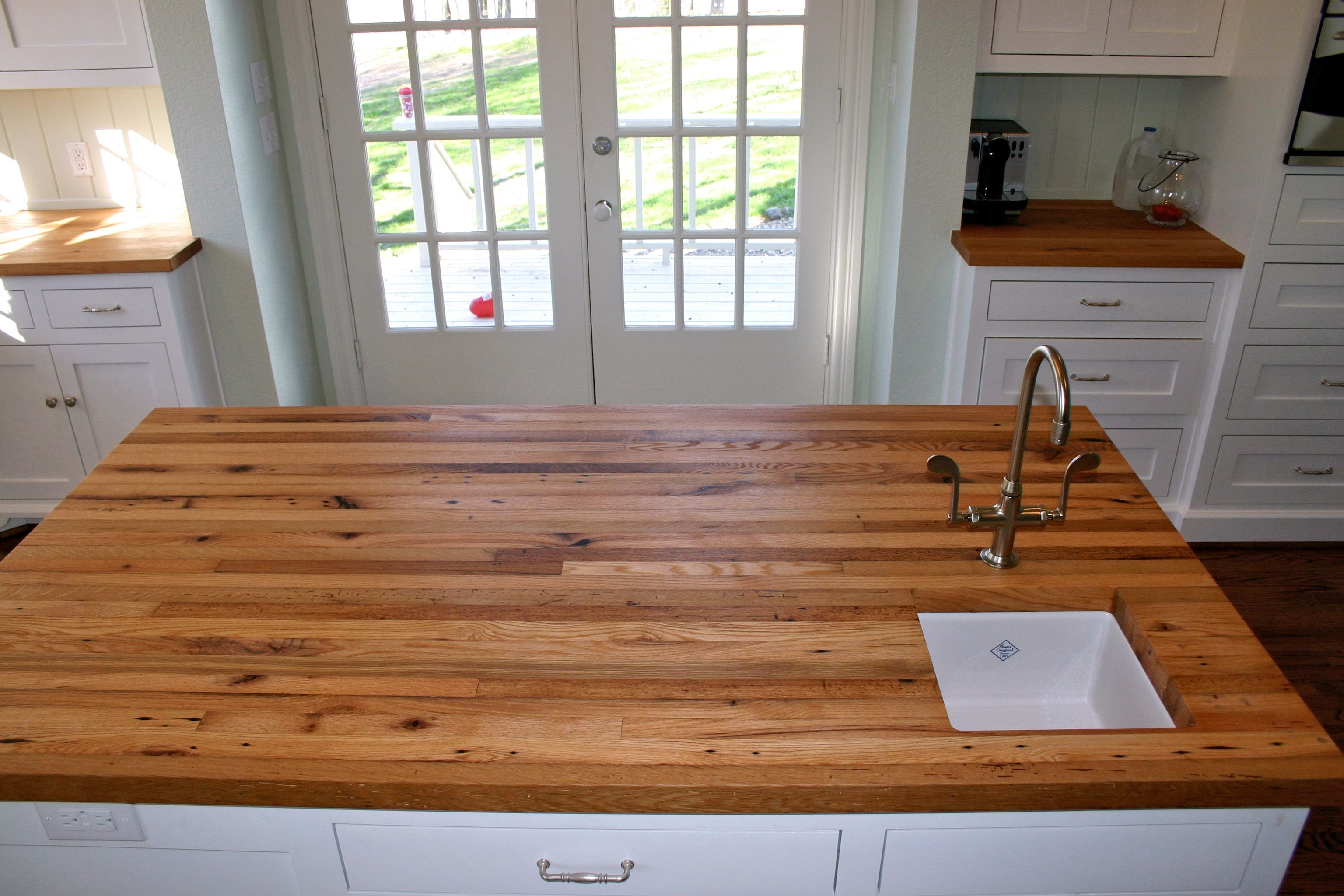 Incroyable Reclaimed White Oak Face Grain Custom Wood Island Countertop.
