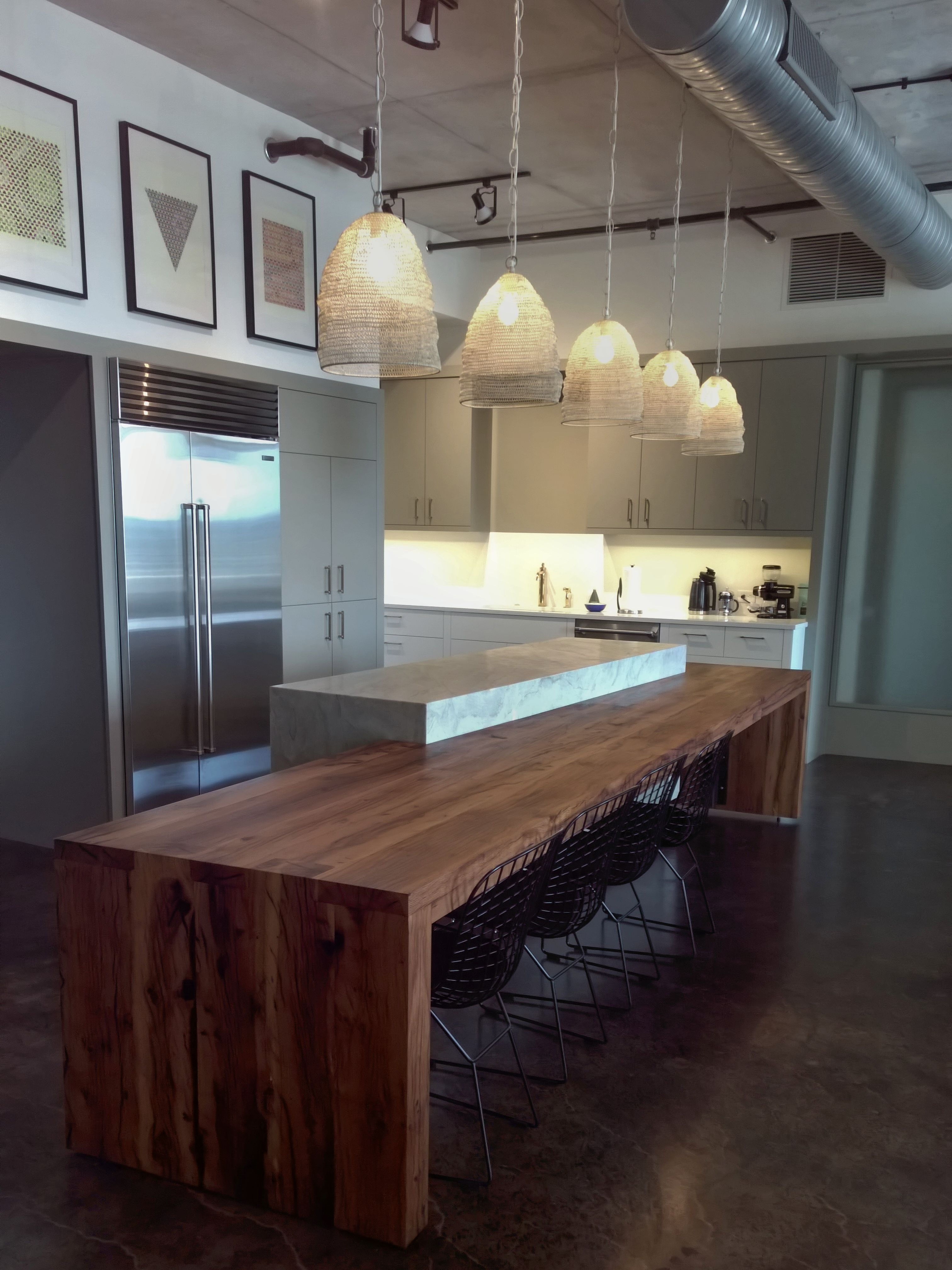 reclaimed white oak wood countertop photo gallery by devos custom finger joint contemporary reclaimed white oak custom wood island with devos puzzle joint along the length