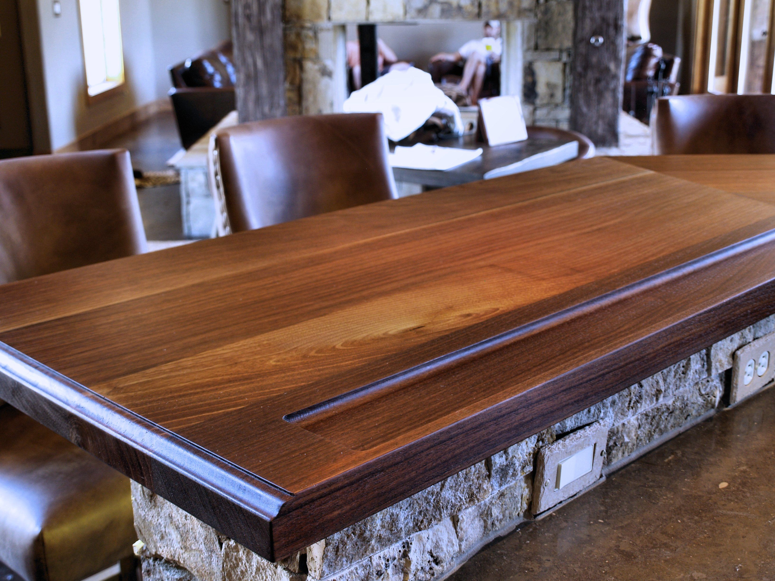 Captivating Slab Walnut Face Grain Custom Wood Bar Top.