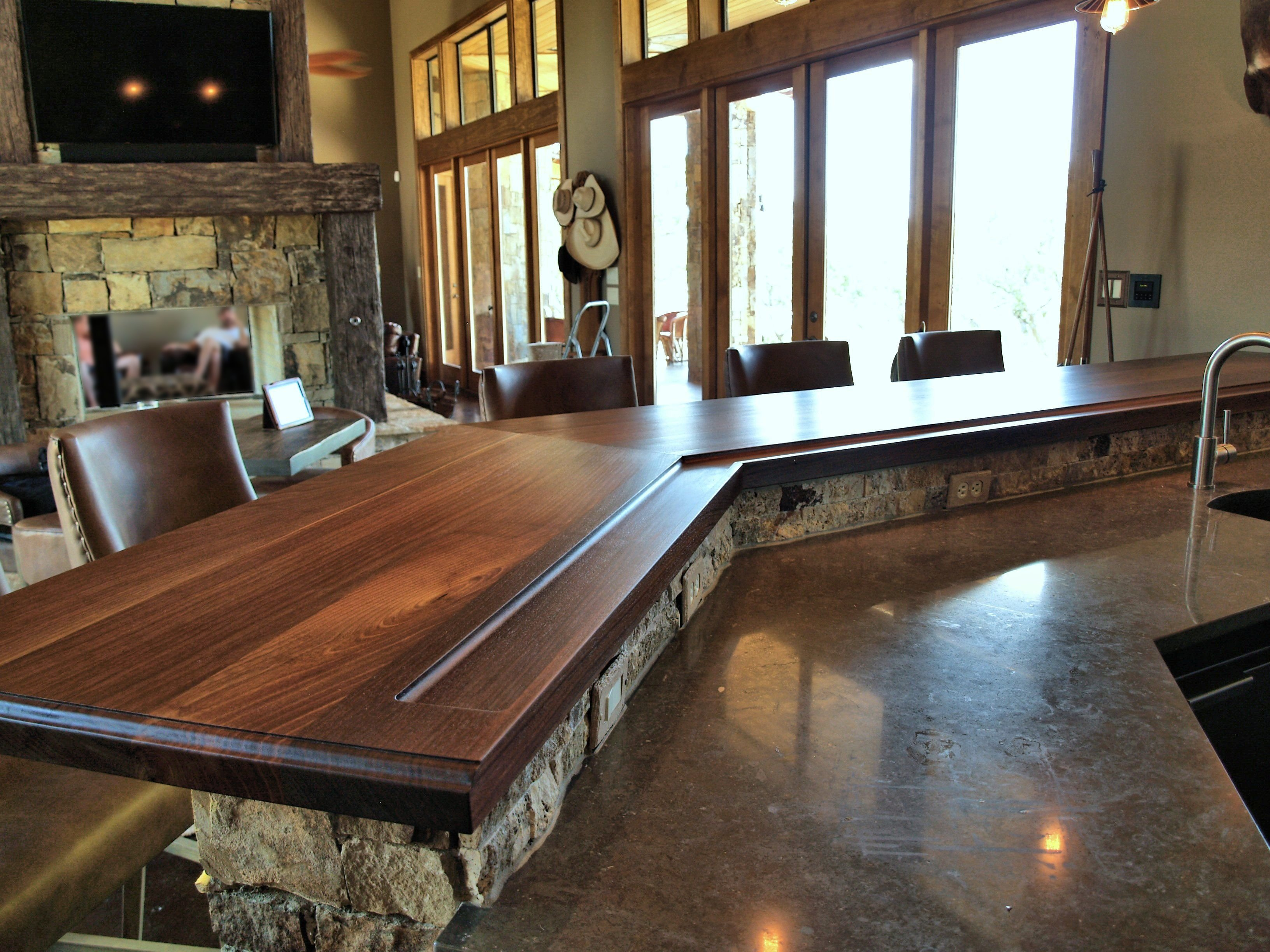 Superior Slab Walnut Face Grain Custom Wood Bar Top.