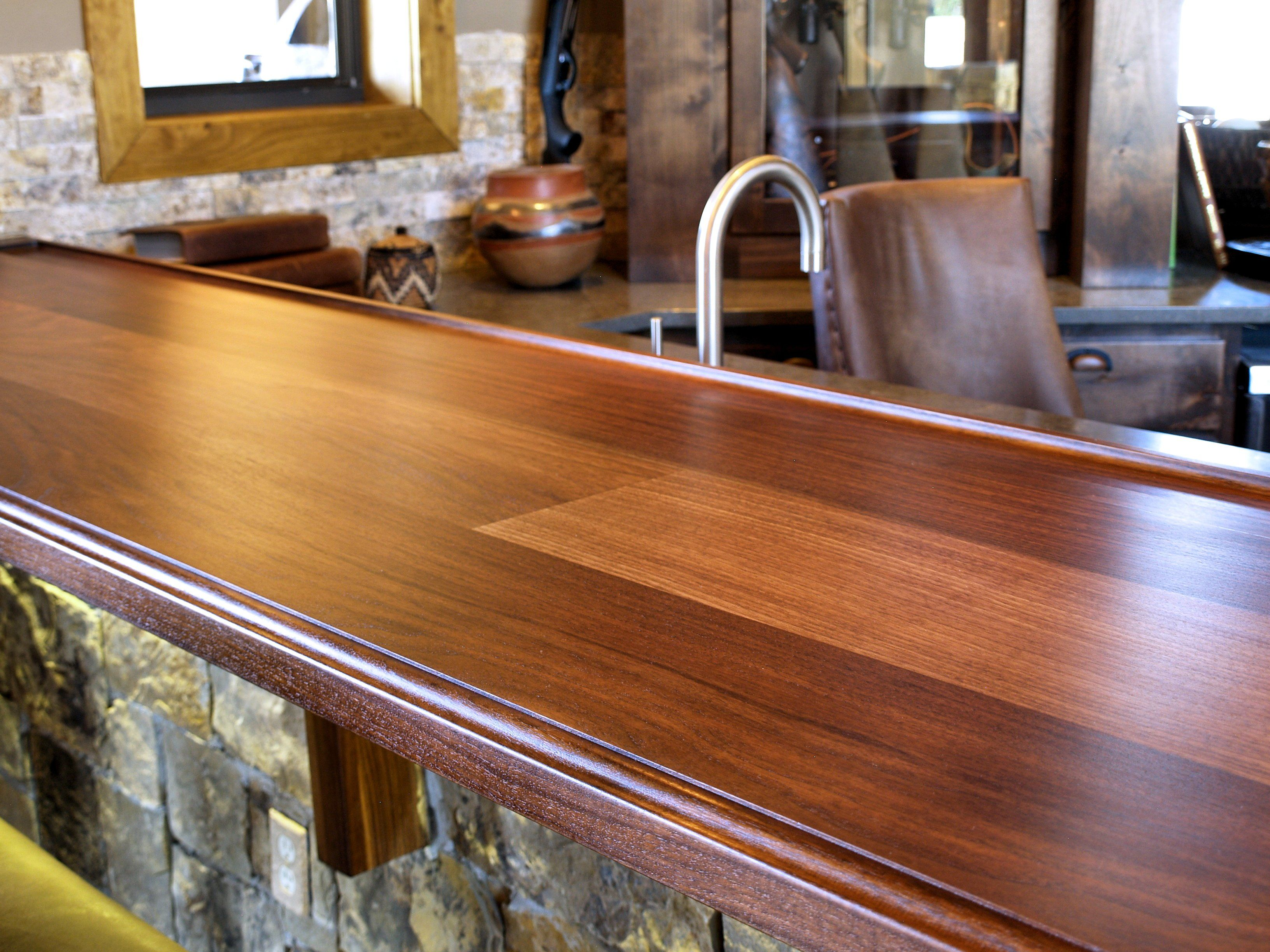 Delightful Slab Walnut Face Grain Custom Wood Bar Top.