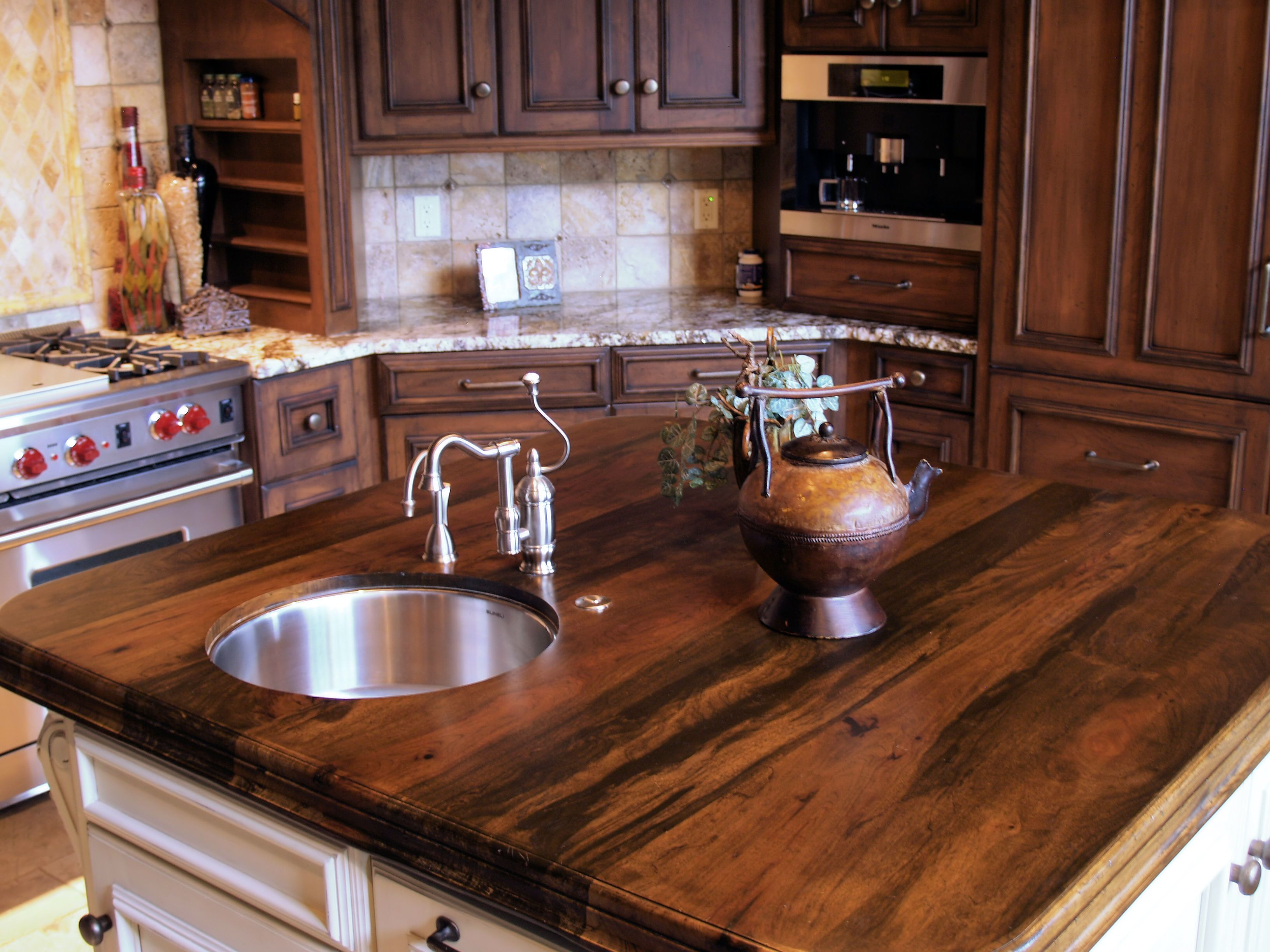 Spalted pecan wood countertop photo gallery by devos for Custom made kitchen countertops