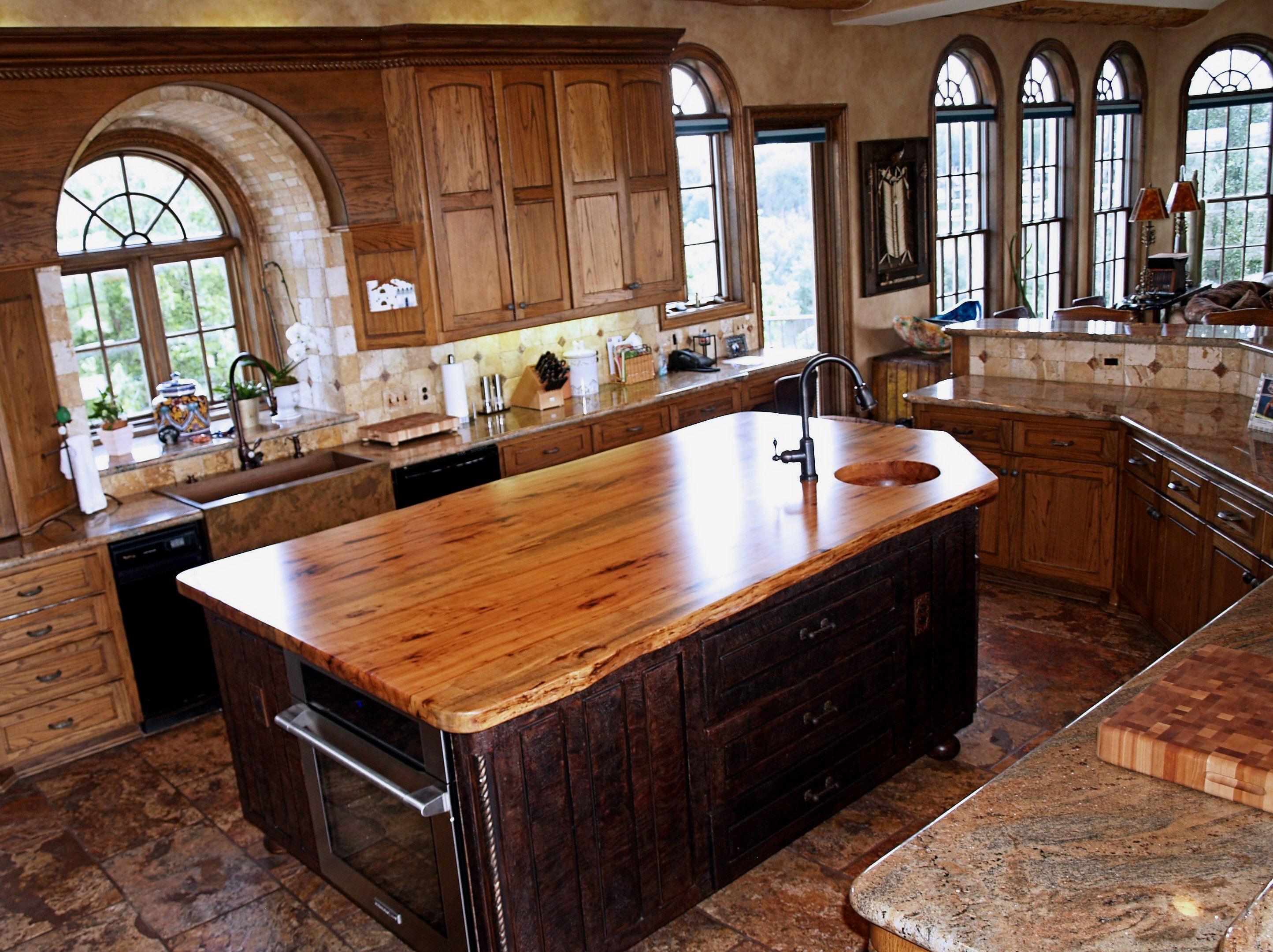 Wood Slab Kitchen Countertops Spalted Pecan Wood Countertop Photo Gallerydevos Custom
