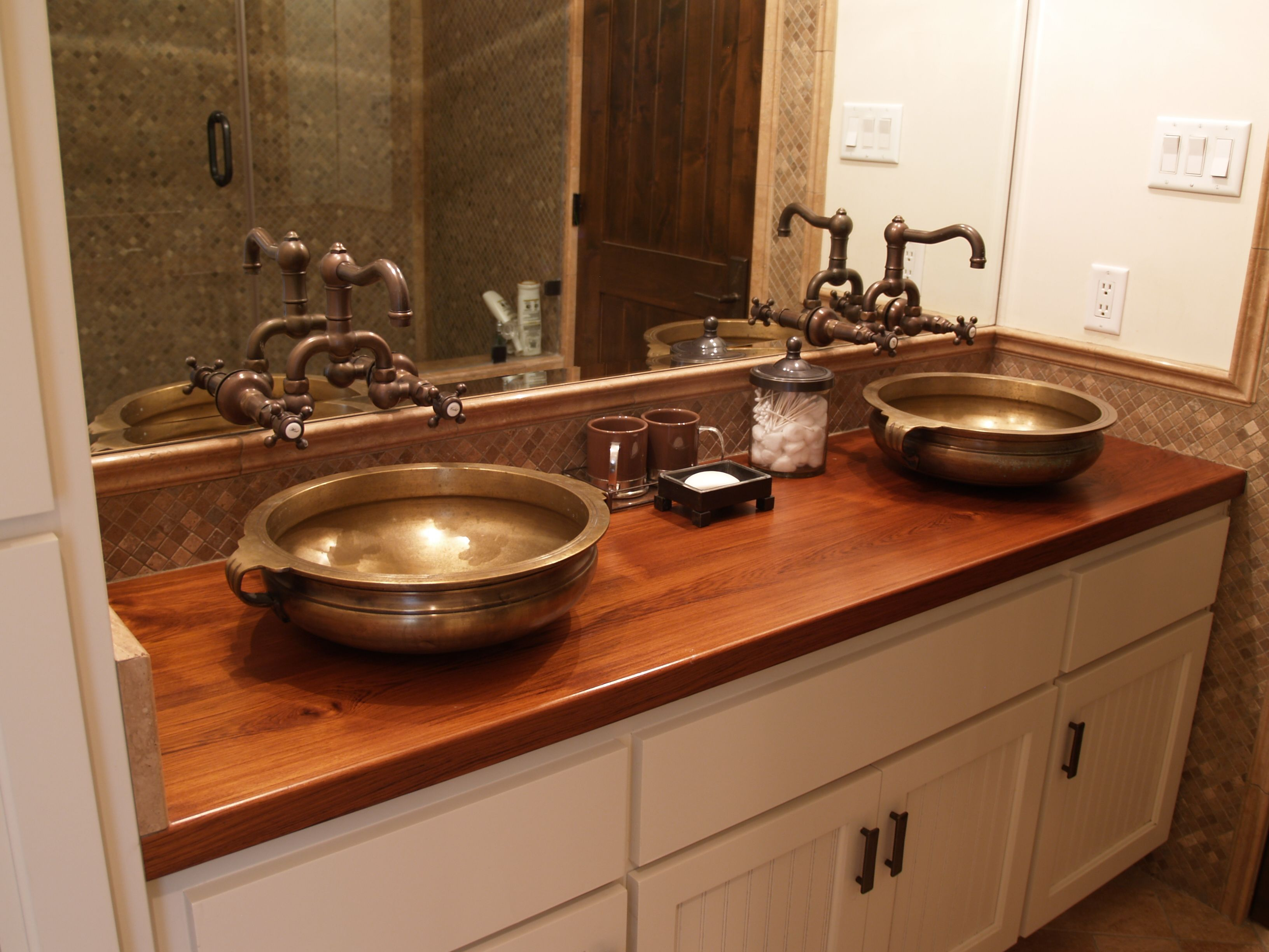 Top Of Counter Sink : Face Teak Vanity Top with vessel sinks and Waterlox finish