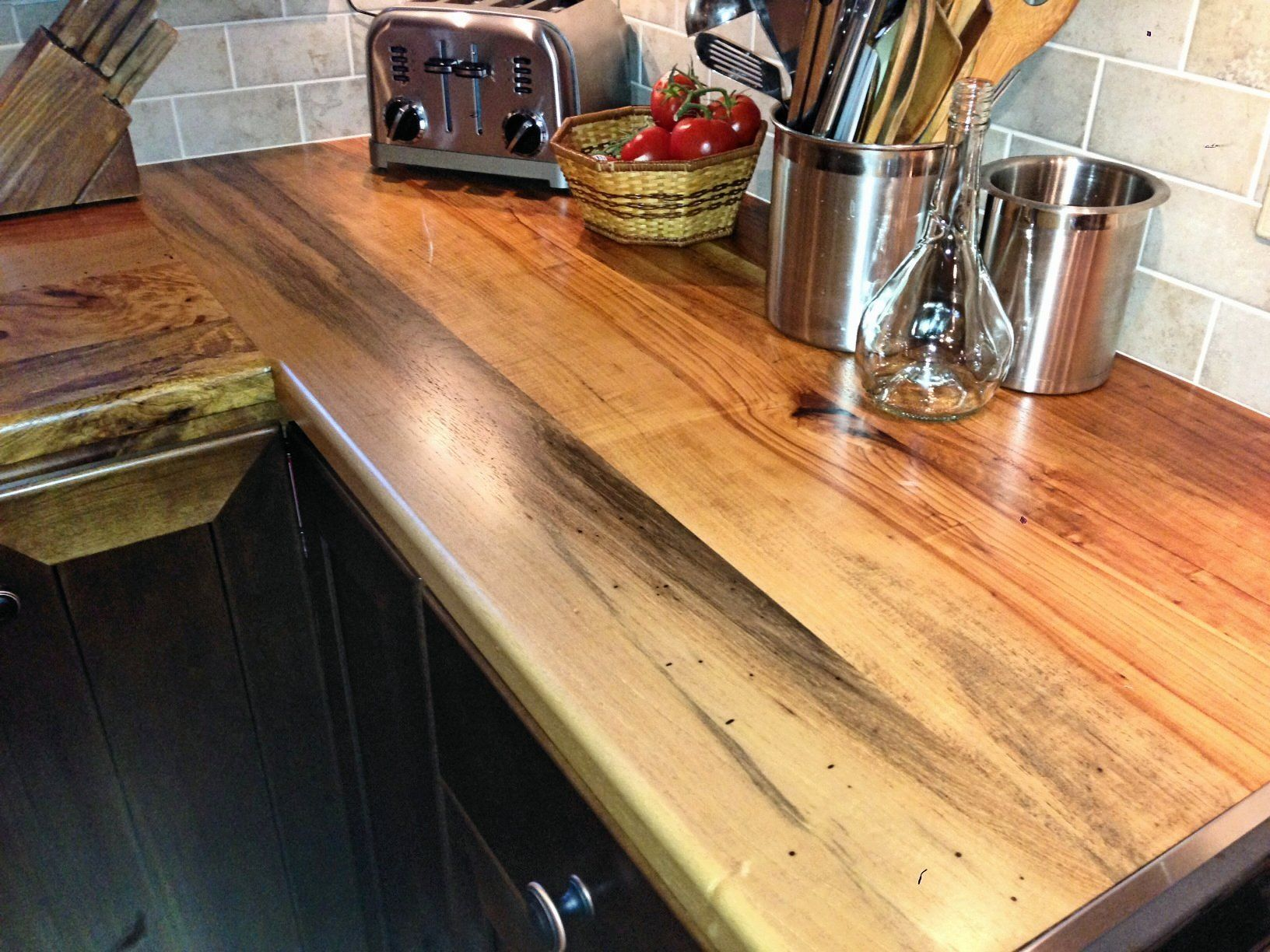 Butt Joint On A Texas Pecan Wood Countertop. Face Grain Construction With  Waterlox Finish