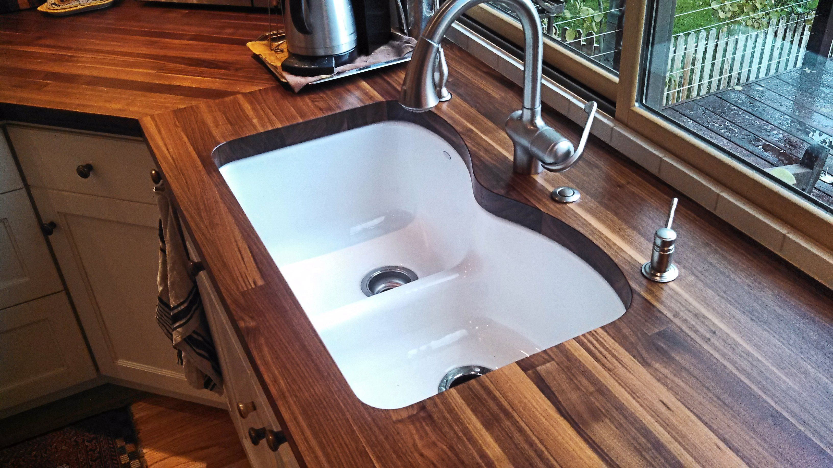 Marvelous Edge Grain Walnut Countertop With Undermount Sink And Tung Oil/Citrus Finish
