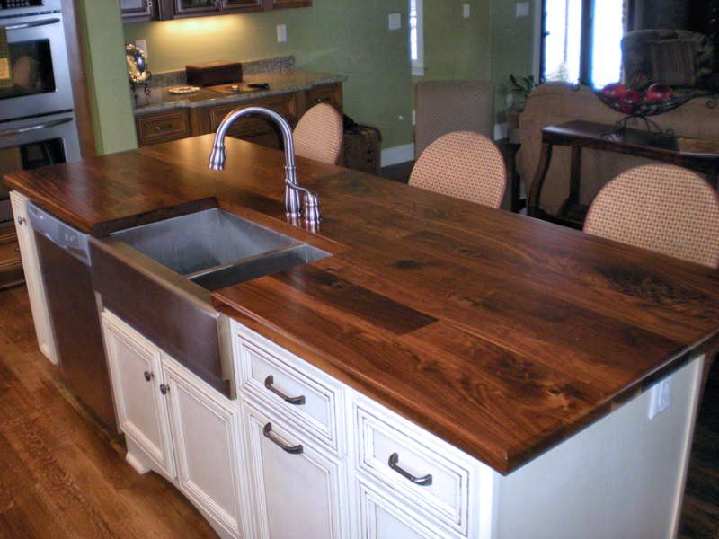 Face Grain Walnut Island Top With Farm Sink And Waterlox Finish