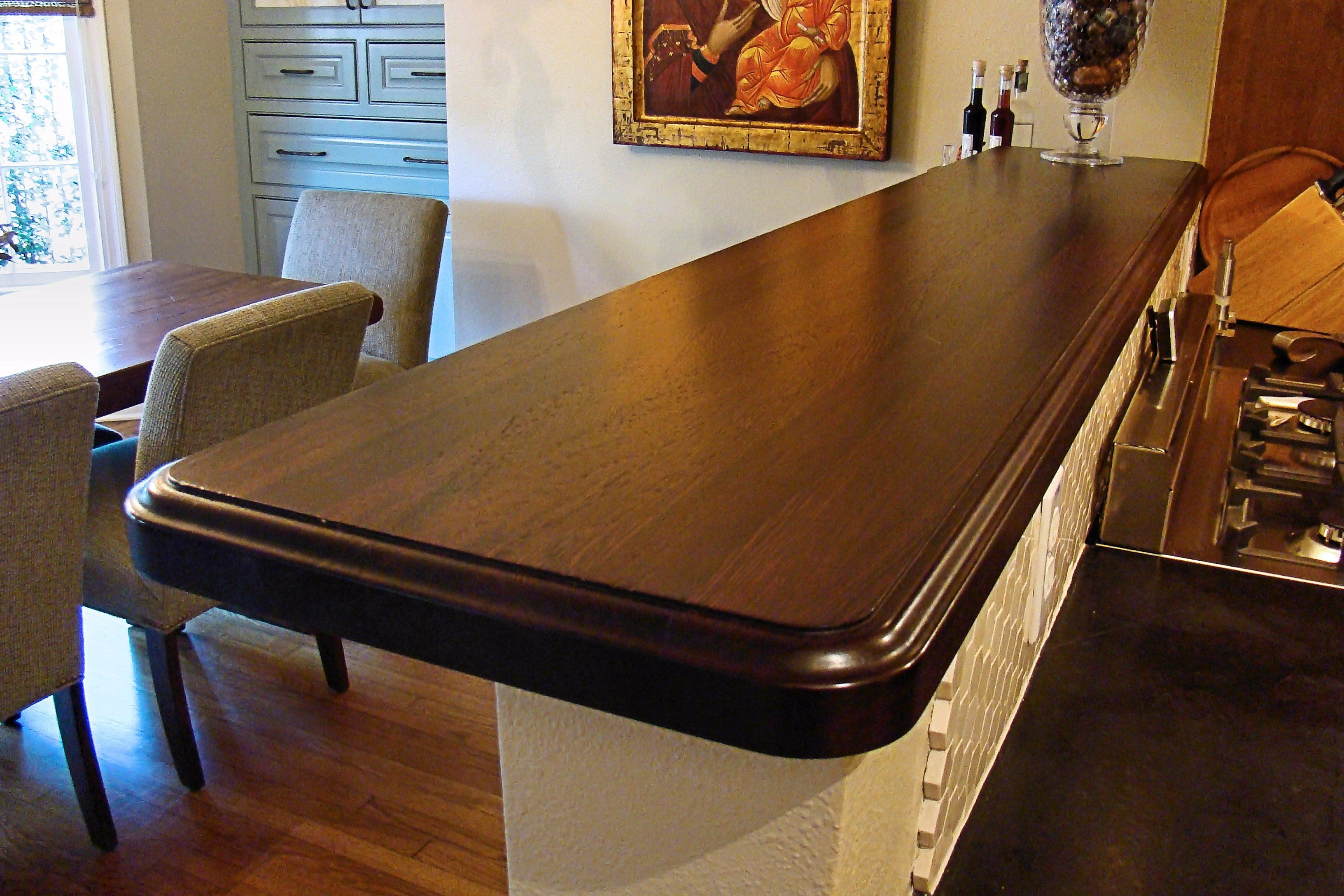 Charming Wenge Edge Grain Custom Wood Bar Top.