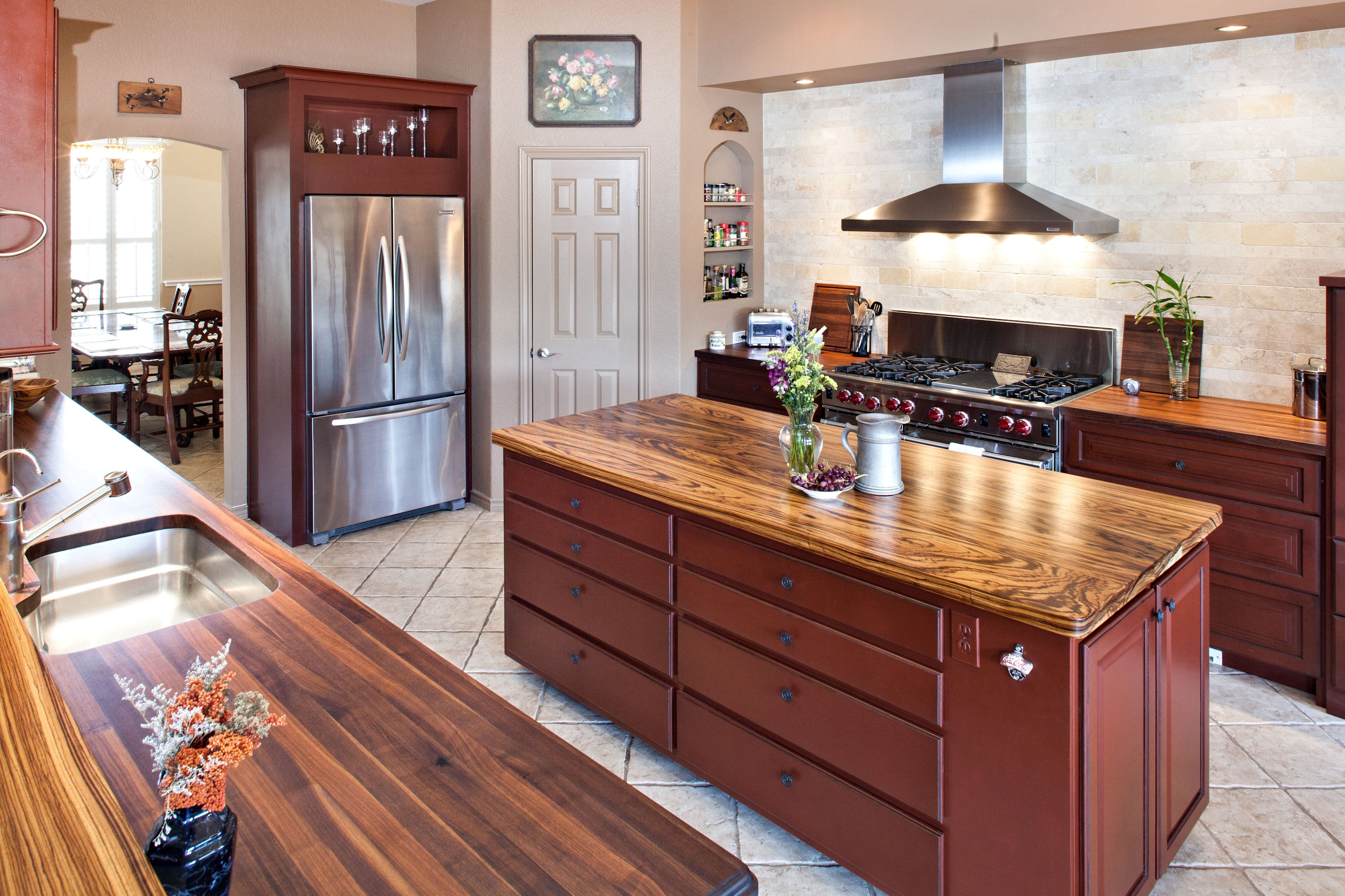 Zebra wood kitchen cabinets - Zebrawood Face Grain Custom Wood Island Countertop