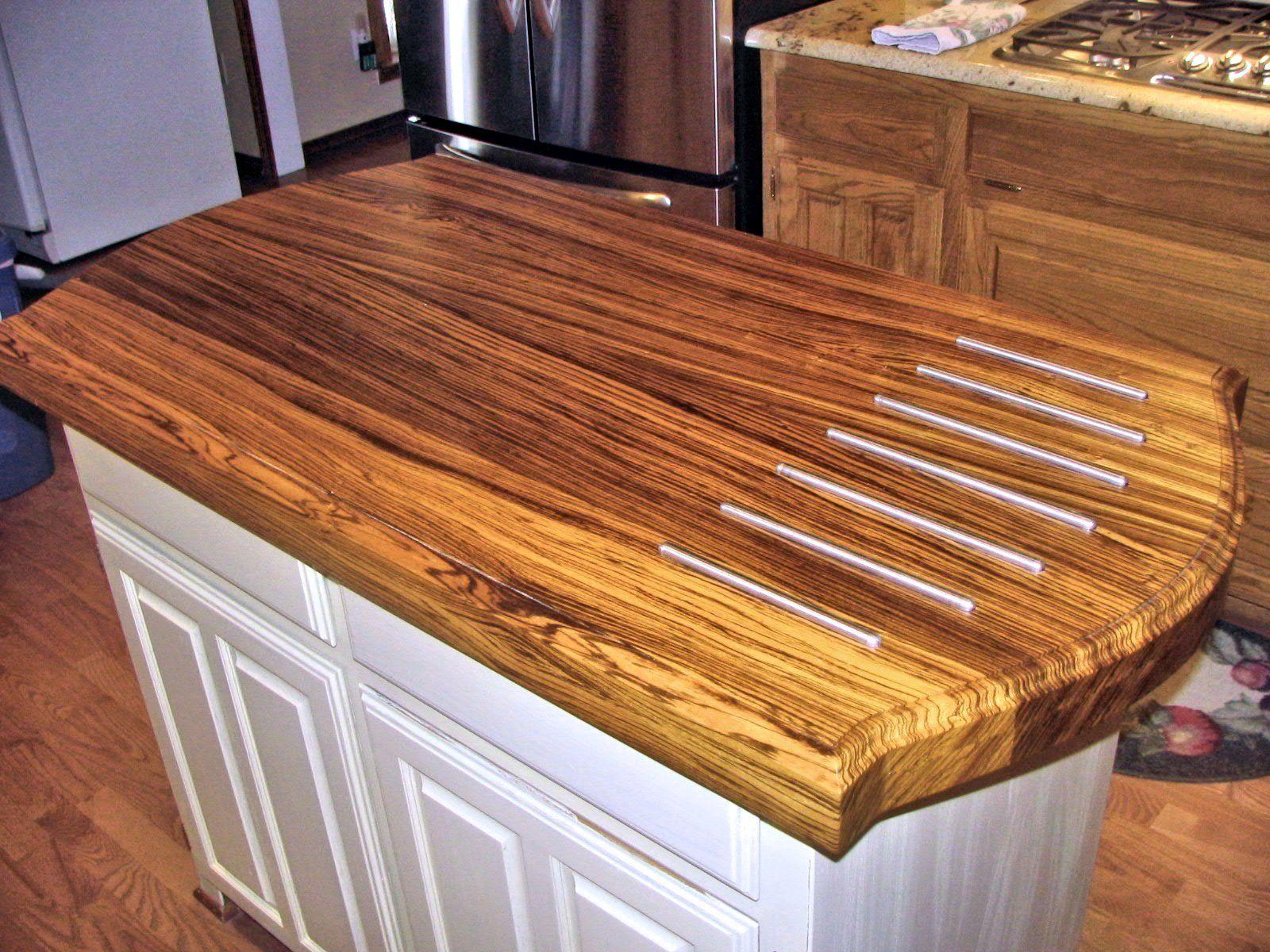 Zebrawood Face Grain Custom Wood Island Countertop