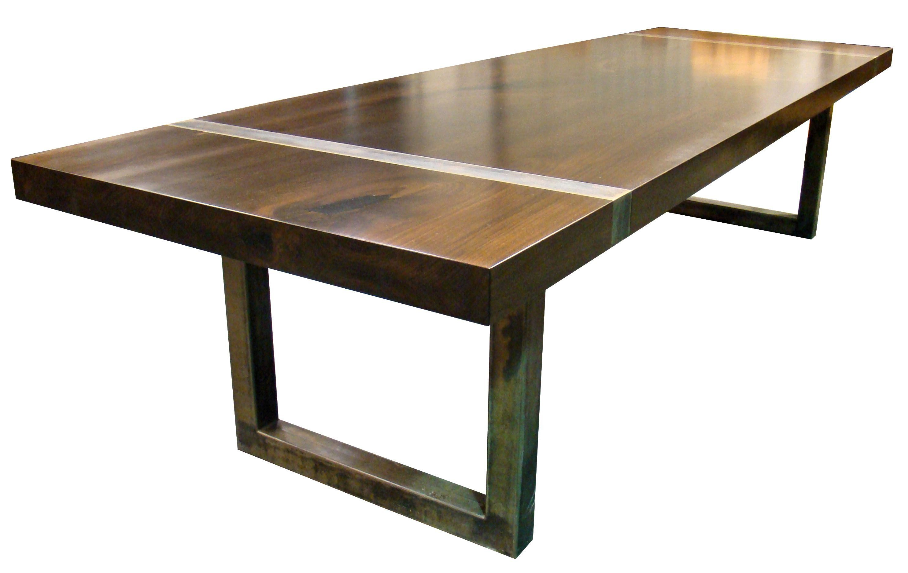 Devos custom woodworking custom wood tables with metal bases for Pietement table metal