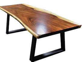 Custom Dining Table Using A Guanacaste Slab Top With Natural Edges And  Waterlox Satin Finish.