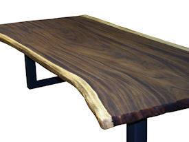 ... Custom Dining Table Using A Guanacaste Slab Top With Natural Edges And  Tung Oil Citrus Finish ...