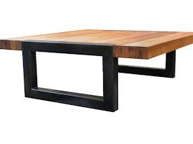 Custom Edge Grain Teak Coffee Table With A Flat Black Metal Base.