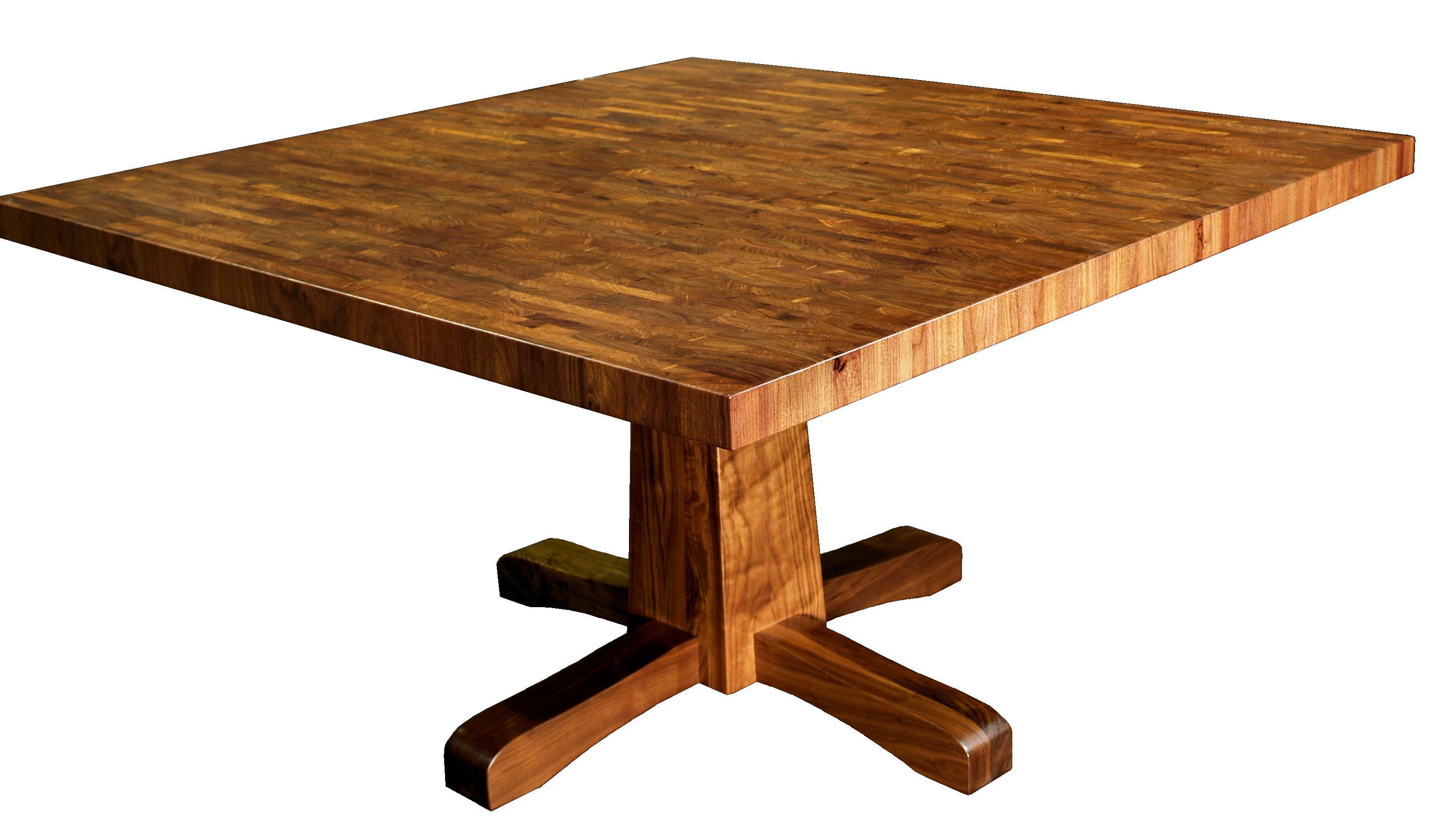 Custom Table With Walnut Pedestal Style Base And Mesquite End Grain Top