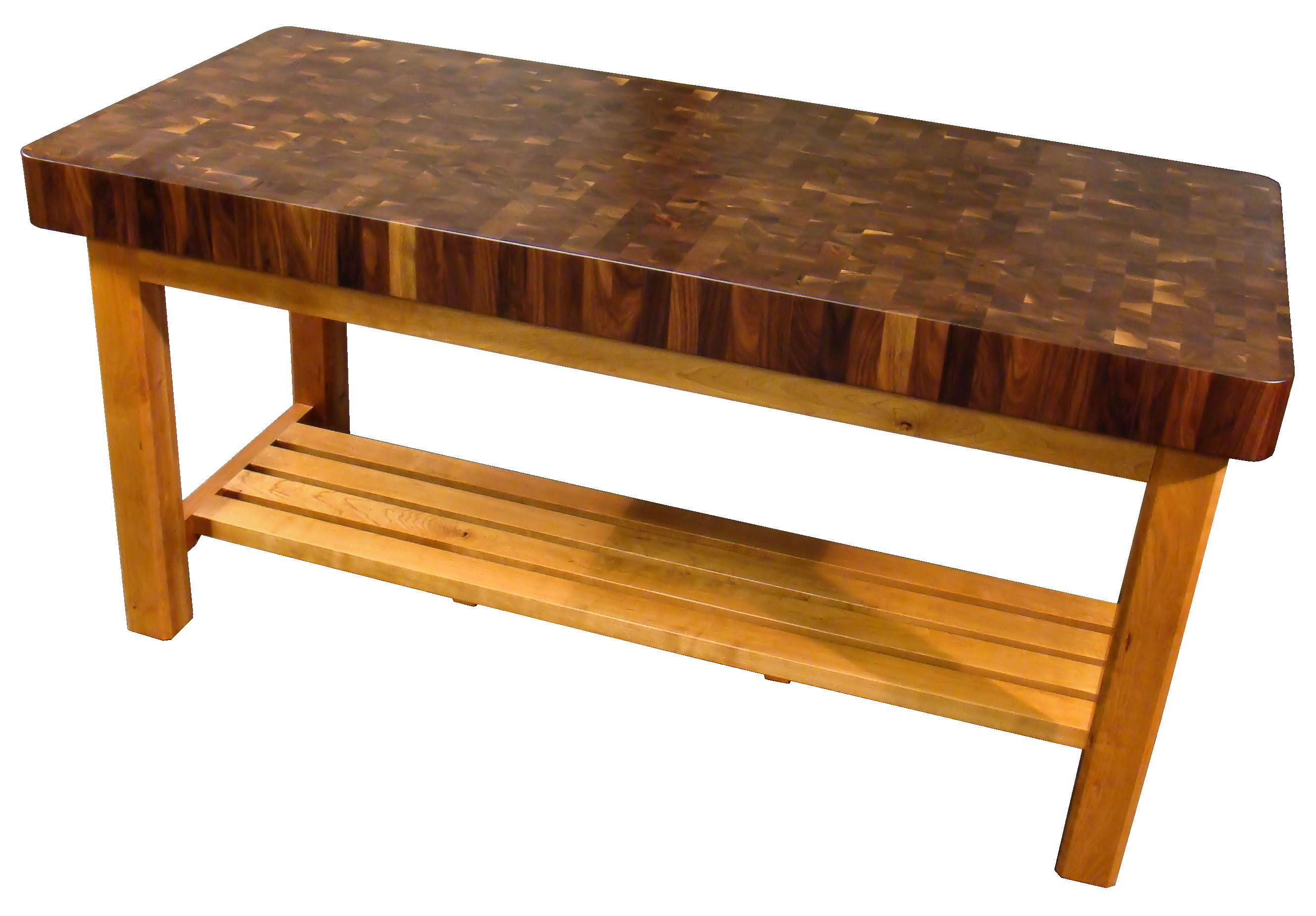 ... Custom Walnut Butcher Block Chopping Table With Cherry Base. This Table  Uses Mortise And Tenon ...