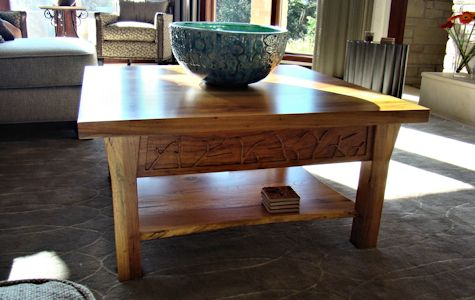 Custom Spalted Pecan square coffee table with custom designed carved aprons and shaped shelf