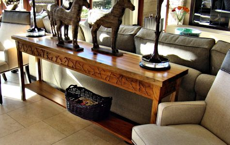 ... Custom Spalted Pecan Sofa Table With Custom Designed Carved Aprons And  Shaped Shelf.