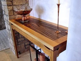 Custom hall table with a Texas Pecan framed Zebrawood