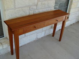 Custom Cherry hall table with drawers and walnut accents