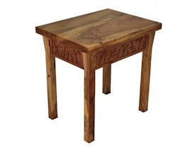 Custom Spalted Pecan rectangular shapped end table with custom designed carved aprons.