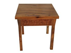 Custom Spalted Pecan square end table with custom designed carved aprons.