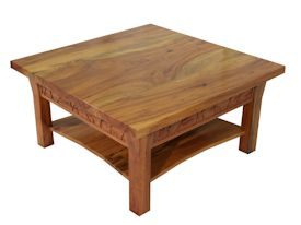Custom Spalted Pecan square coffee table with custom designed carved aprons and shaped shelf.